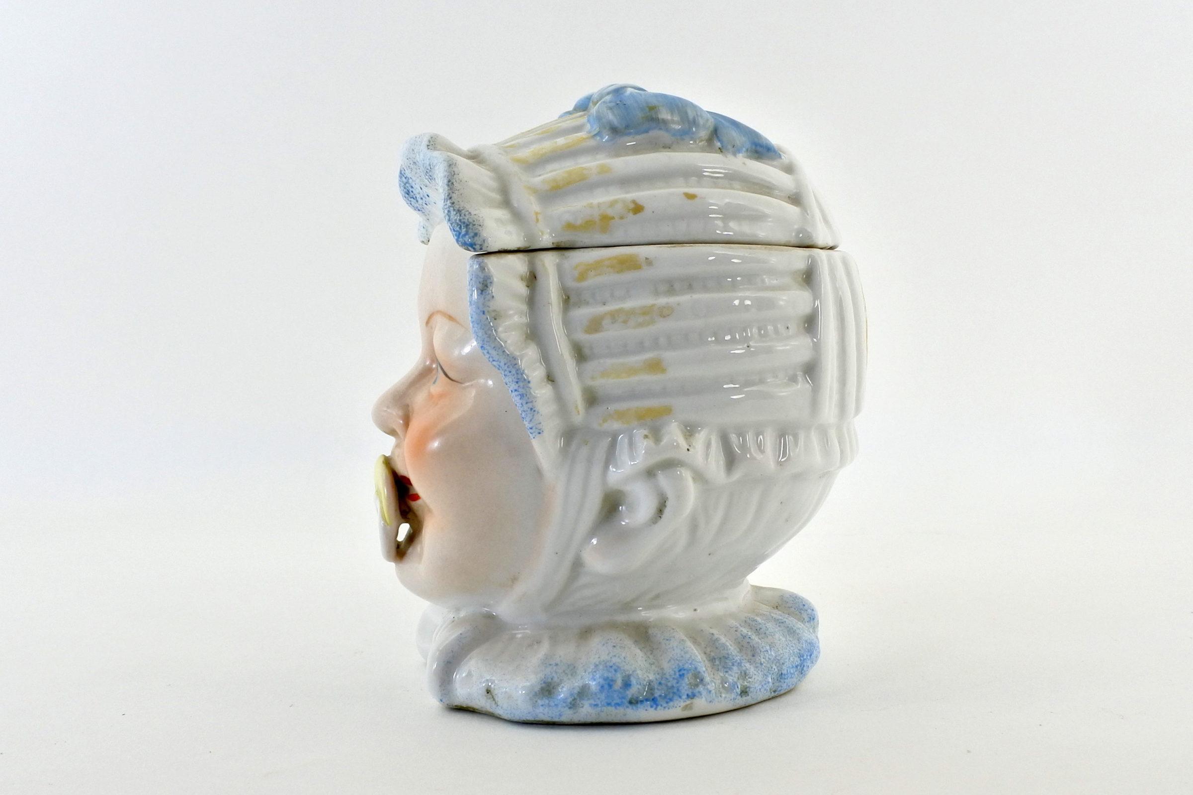 Portatabacco in ceramica rappresentante neonato con ciuccio - 2
