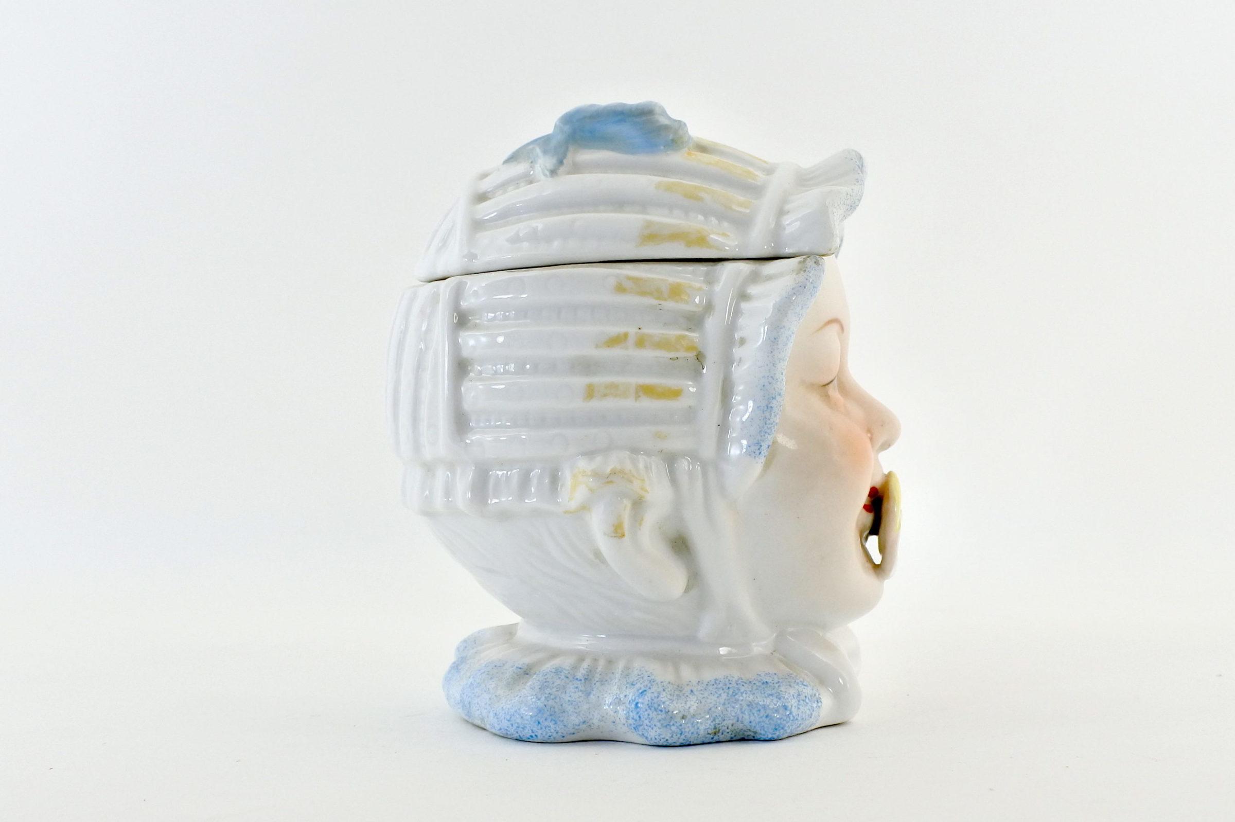 Portatabacco in ceramica rappresentante neonato con ciuccio - 4