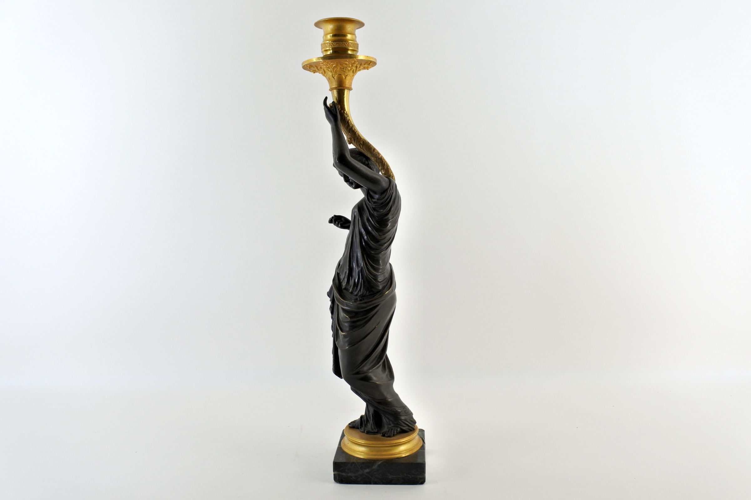 Candeliere in bronzo con parti dorate al mercurio - 2