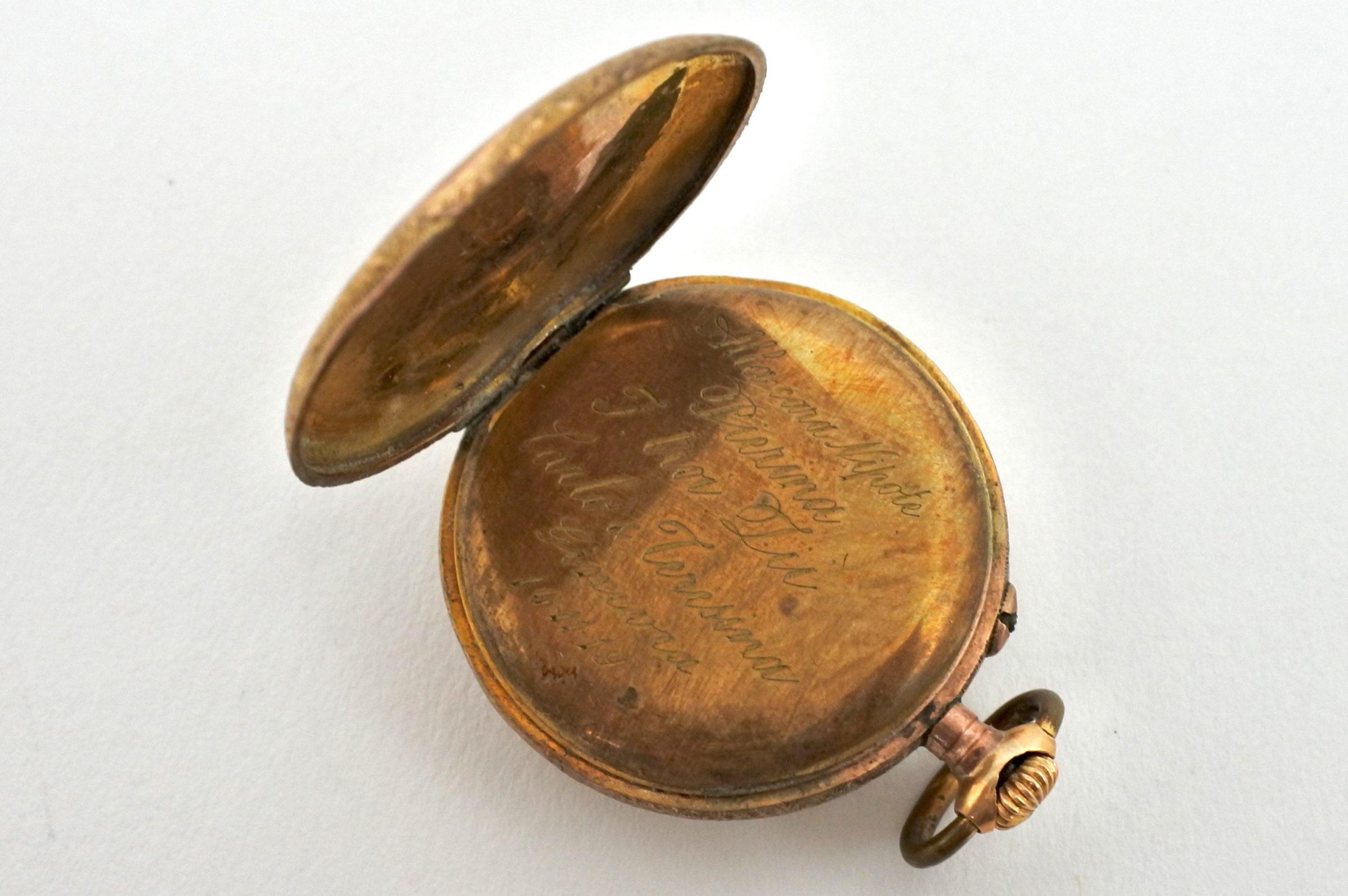 Orologio da tasca – monachina placcata oro e smalti - 2