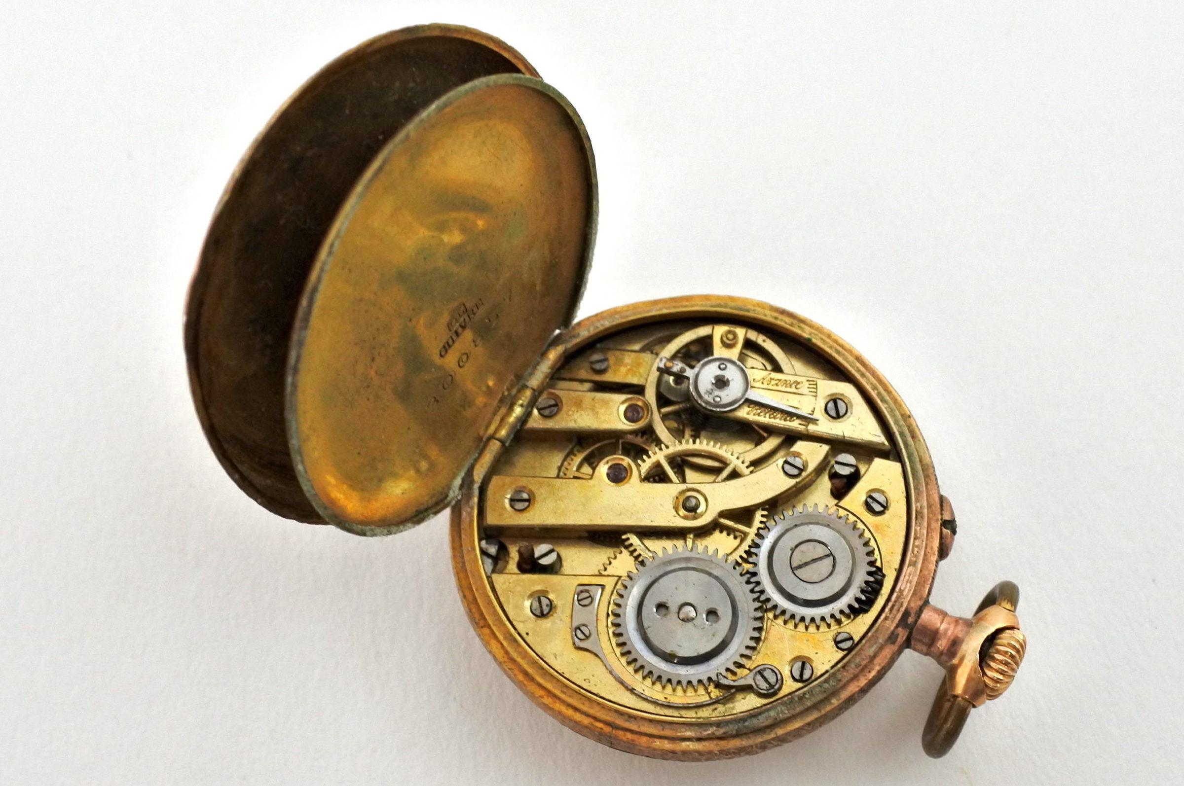 Orologio da tasca – monachina placcata oro e smalti - 3