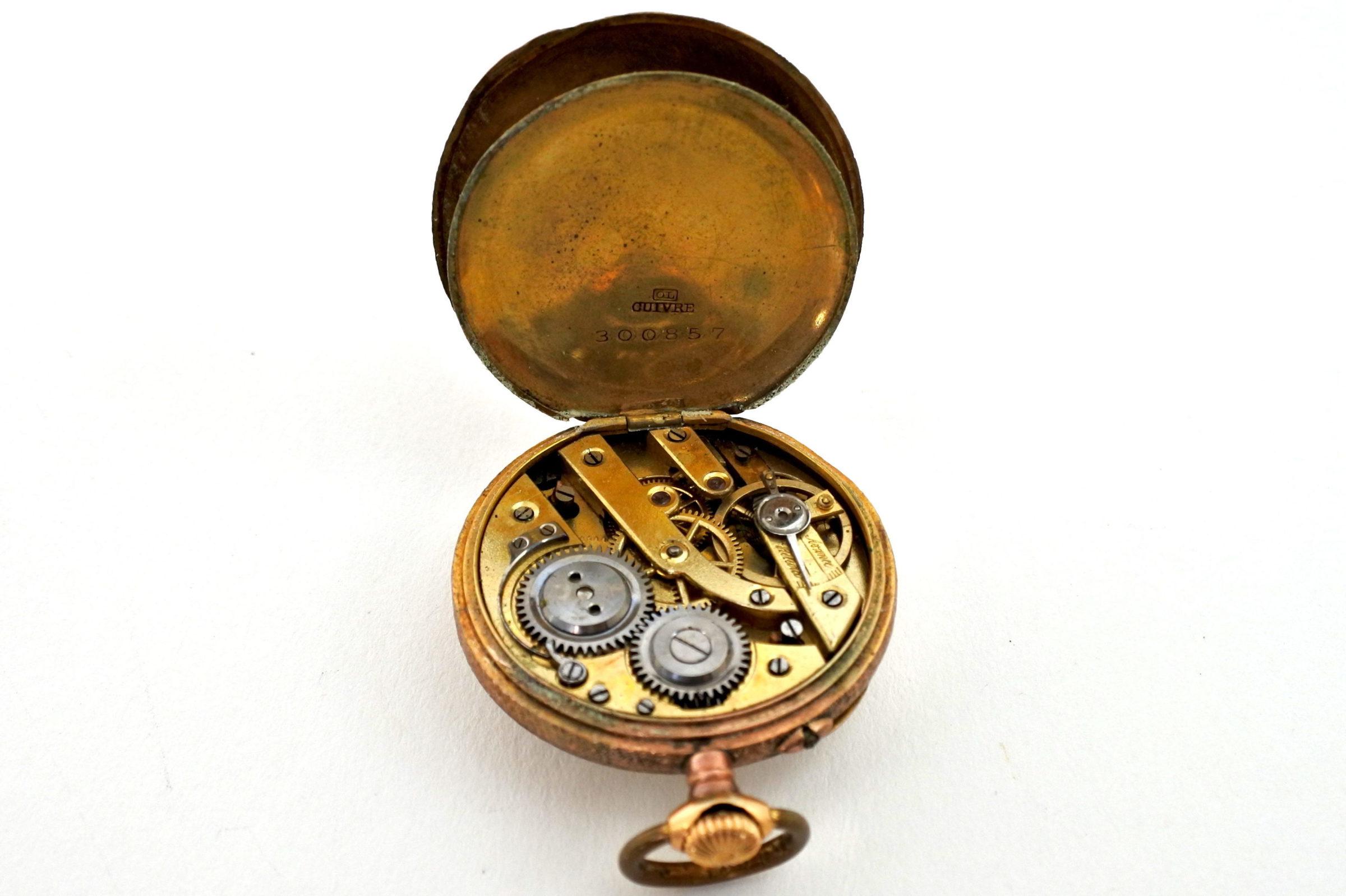 Orologio da tasca – monachina placcata oro e smalti - 4