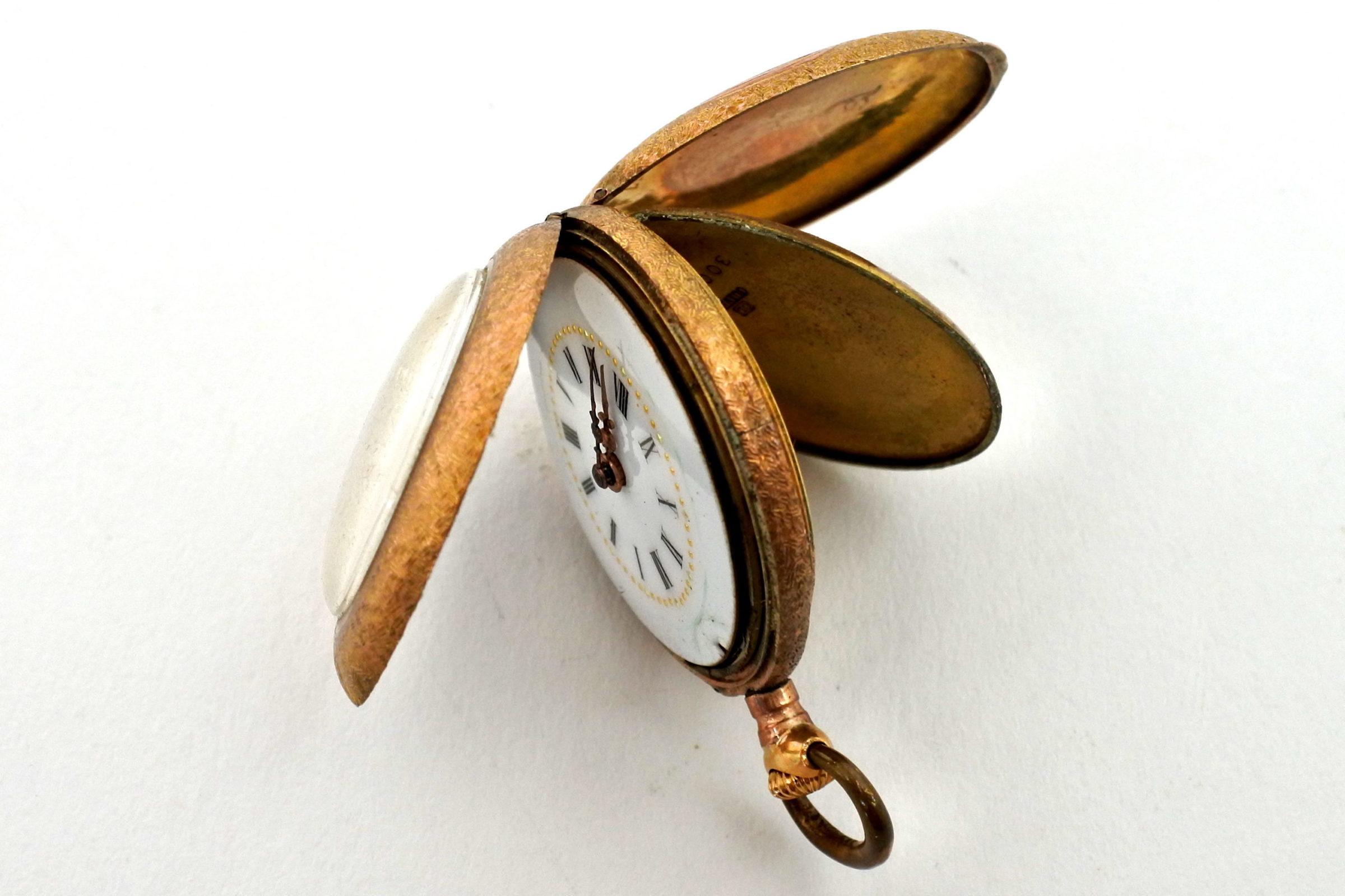 Orologio da tasca – monachina placcata oro e smalti - 5