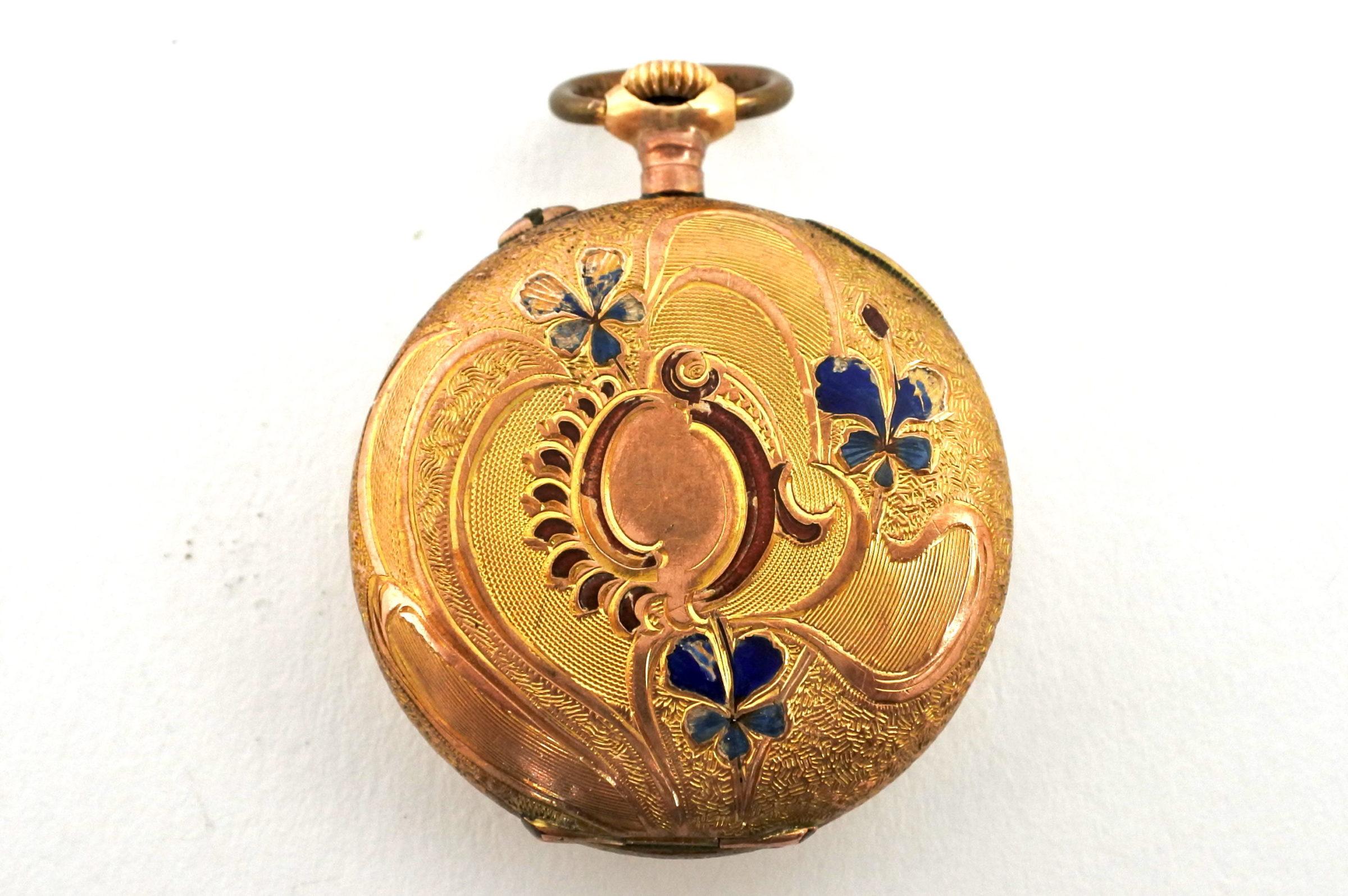 Orologio da tasca – monachina placcata oro e smalti - 6