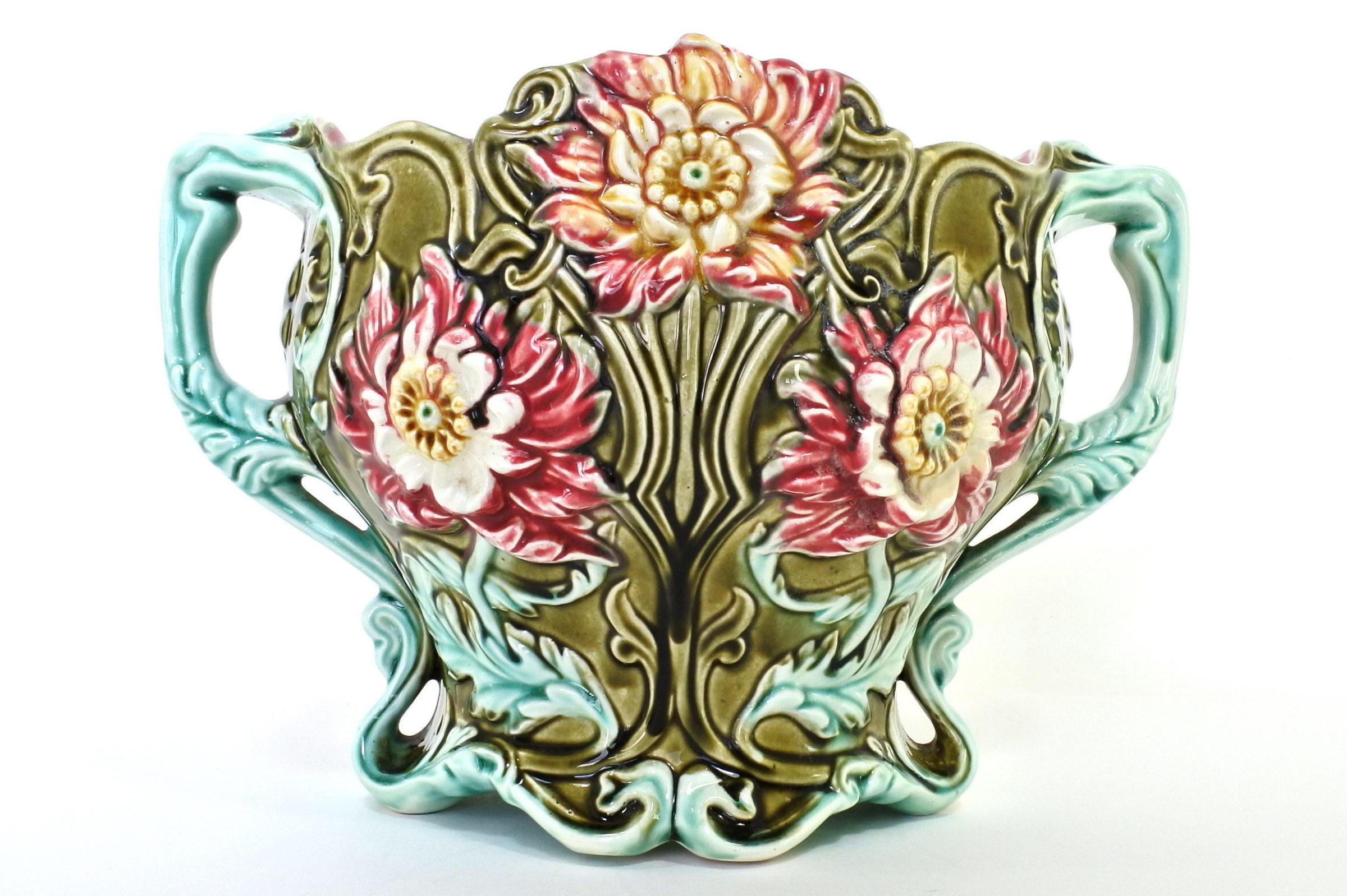 Cache pot in ceramica barbotine con fiori - Seringas