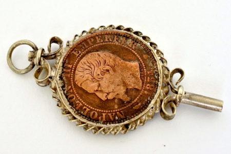 Chiavetta per orologio da tasca con moneta Napoleone III°