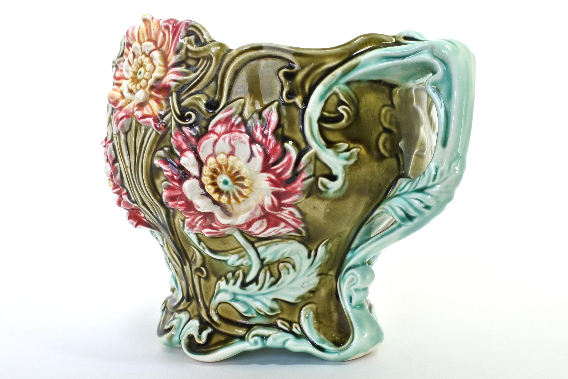 Cache pot in ceramica barbotine con fiori - Seringas - 2