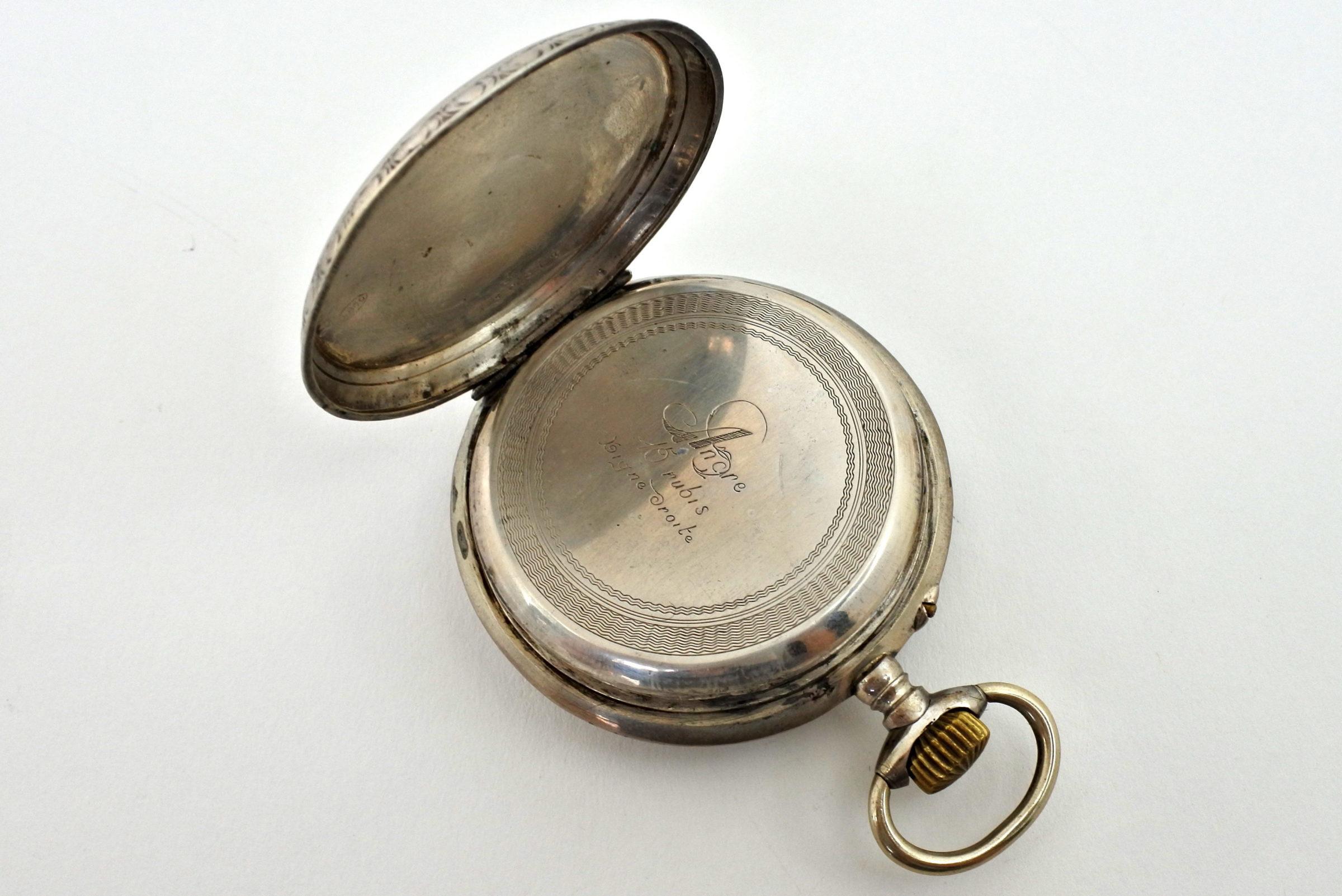 Orologio da tasca in argento con treno su quadrante - 2