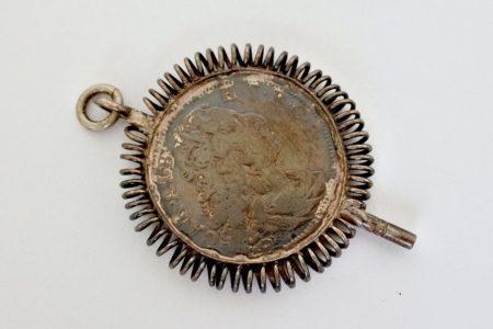 Chiavetta per orologio da tasca con moneta Carlo Alberto