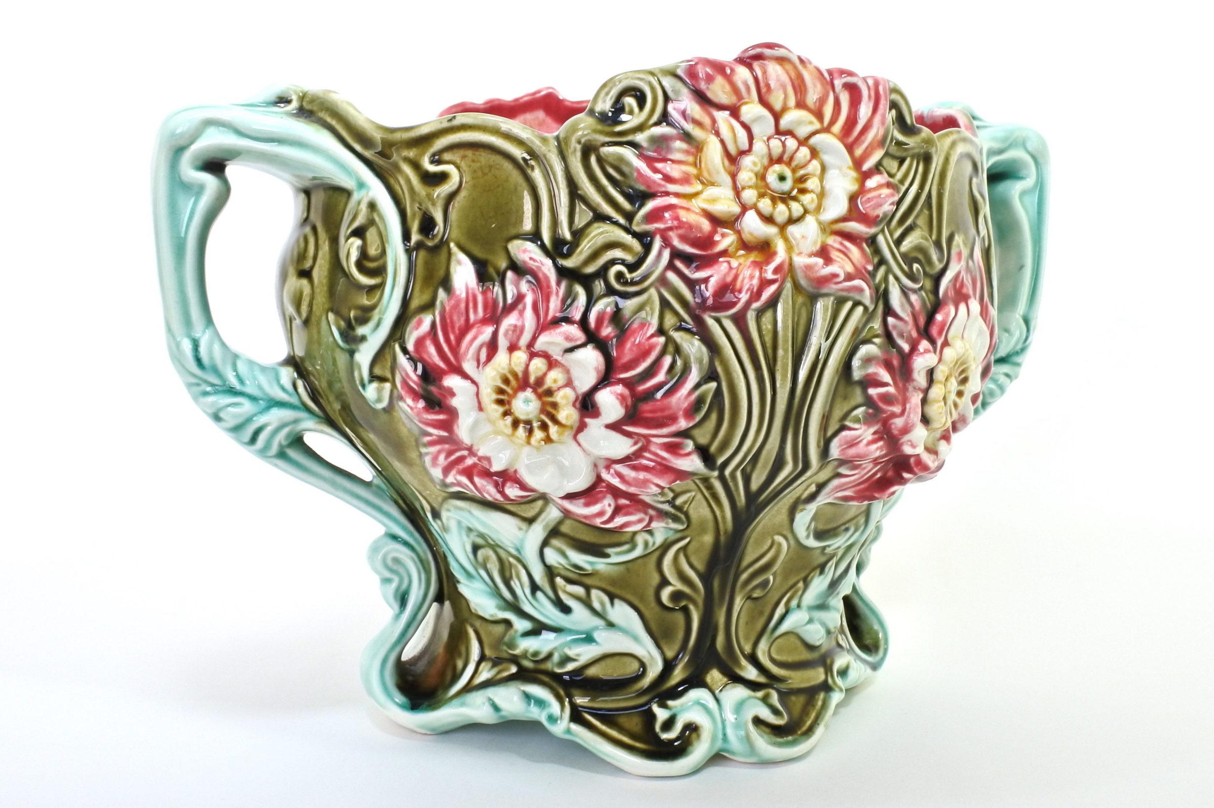 Cache pot in ceramica barbotine con fiori - Seringas - 3