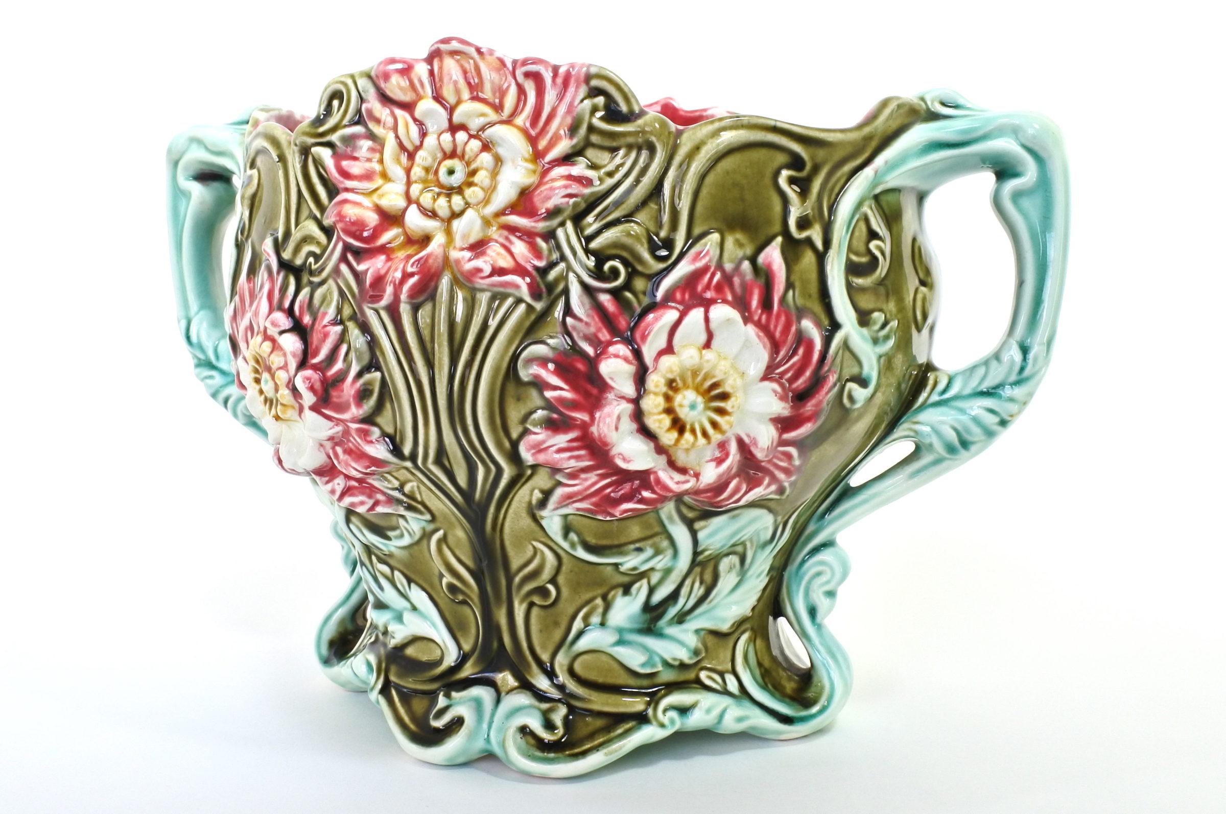 Cache pot in ceramica barbotine con fiori - Seringas - 4