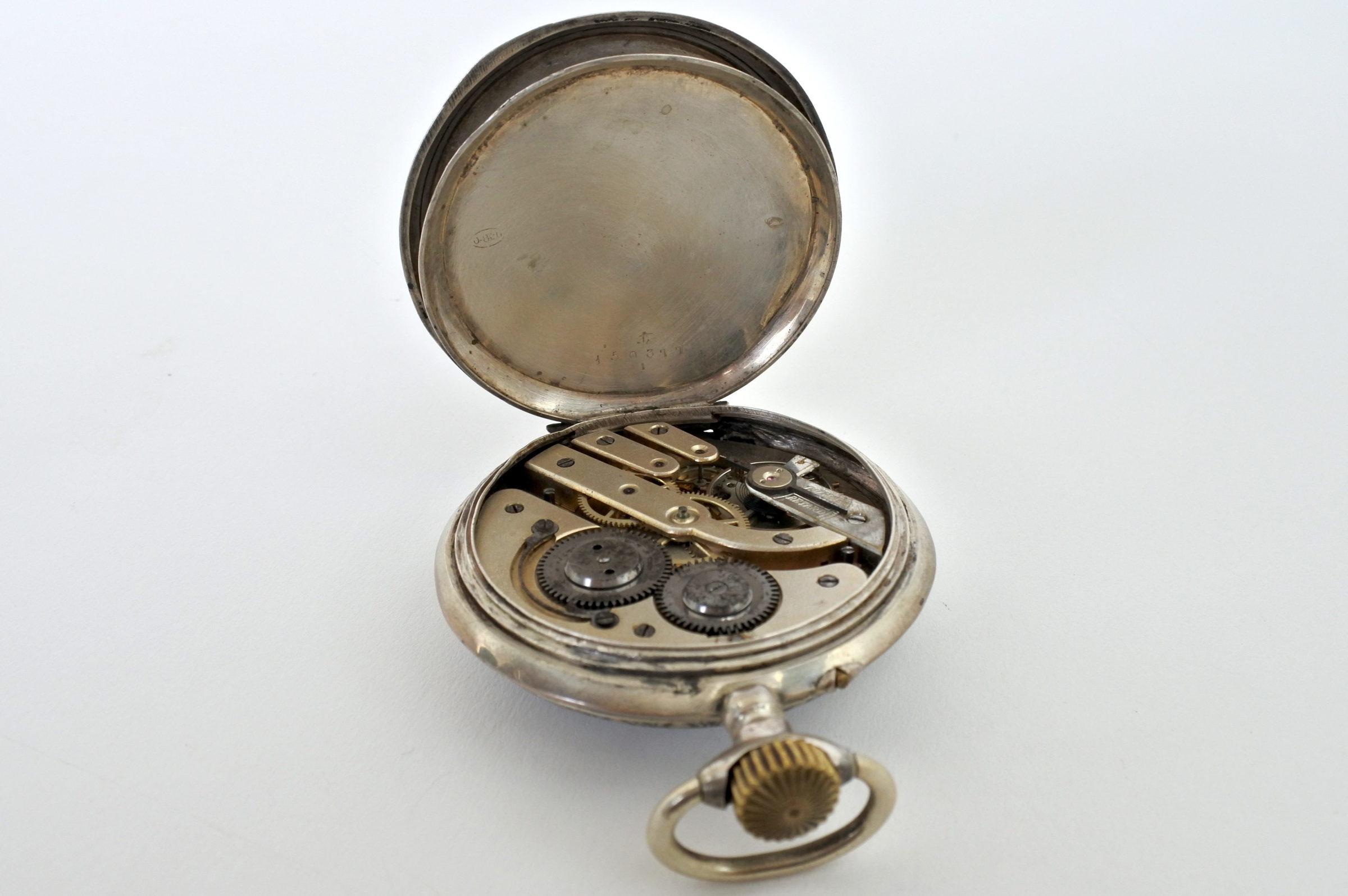 Orologio da tasca in argento con treno su quadrante - 4