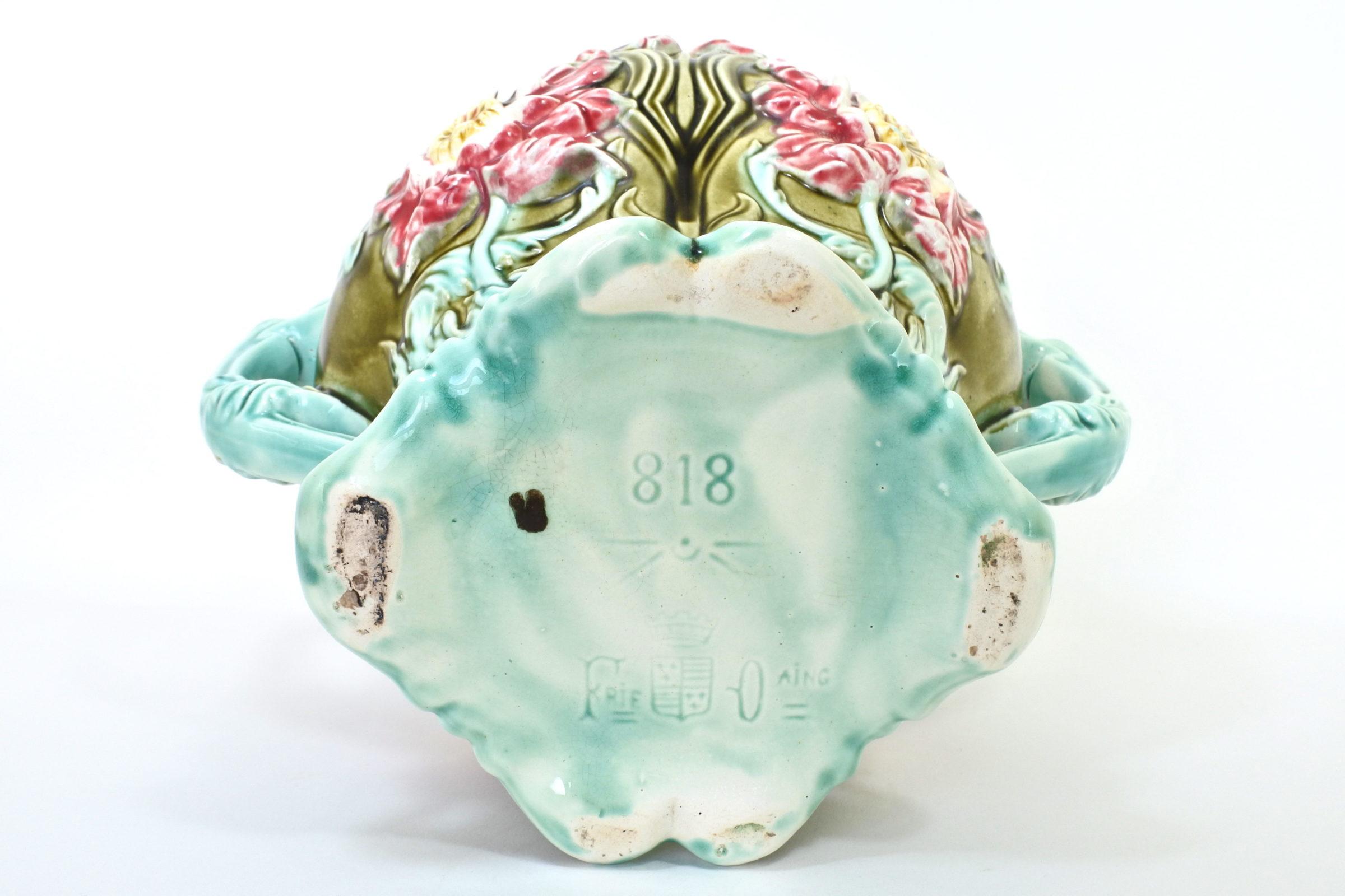 Cache pot in ceramica barbotine con fiori - Seringas - 5