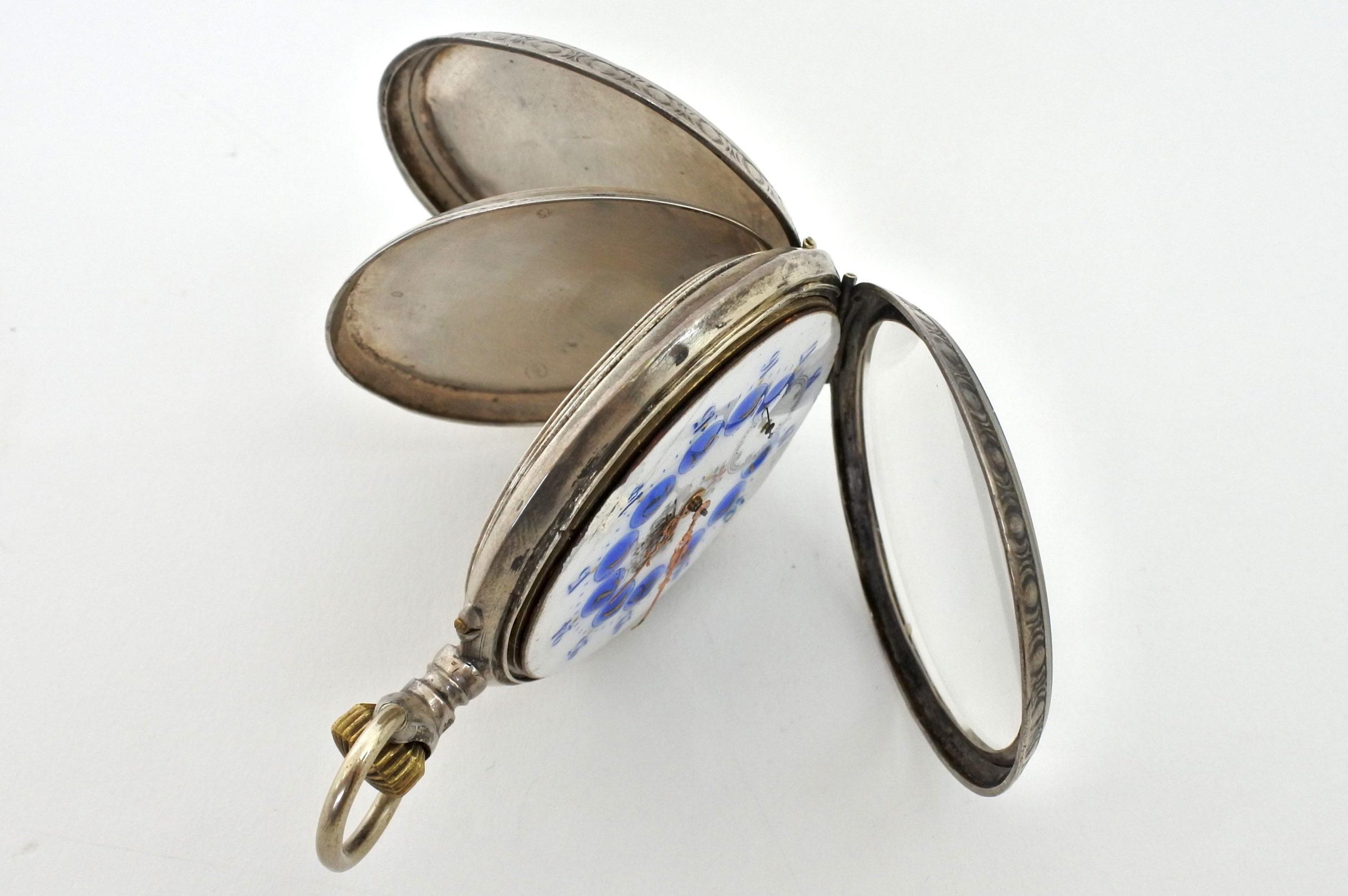 Orologio da tasca in argento con treno su quadrante - 6