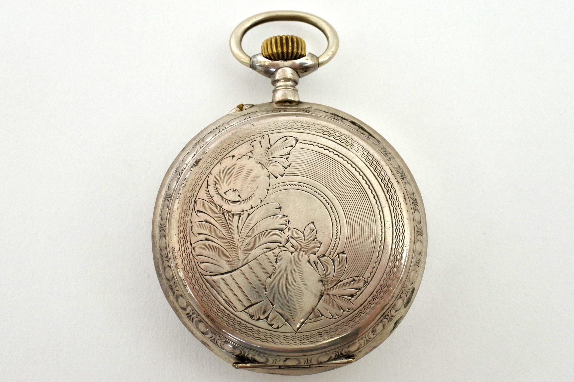 Orologio da tasca in argento con treno su quadrante - 7