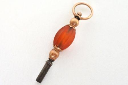 Chiavetta per orologio da tasca in argento e vermeil con pietra dura