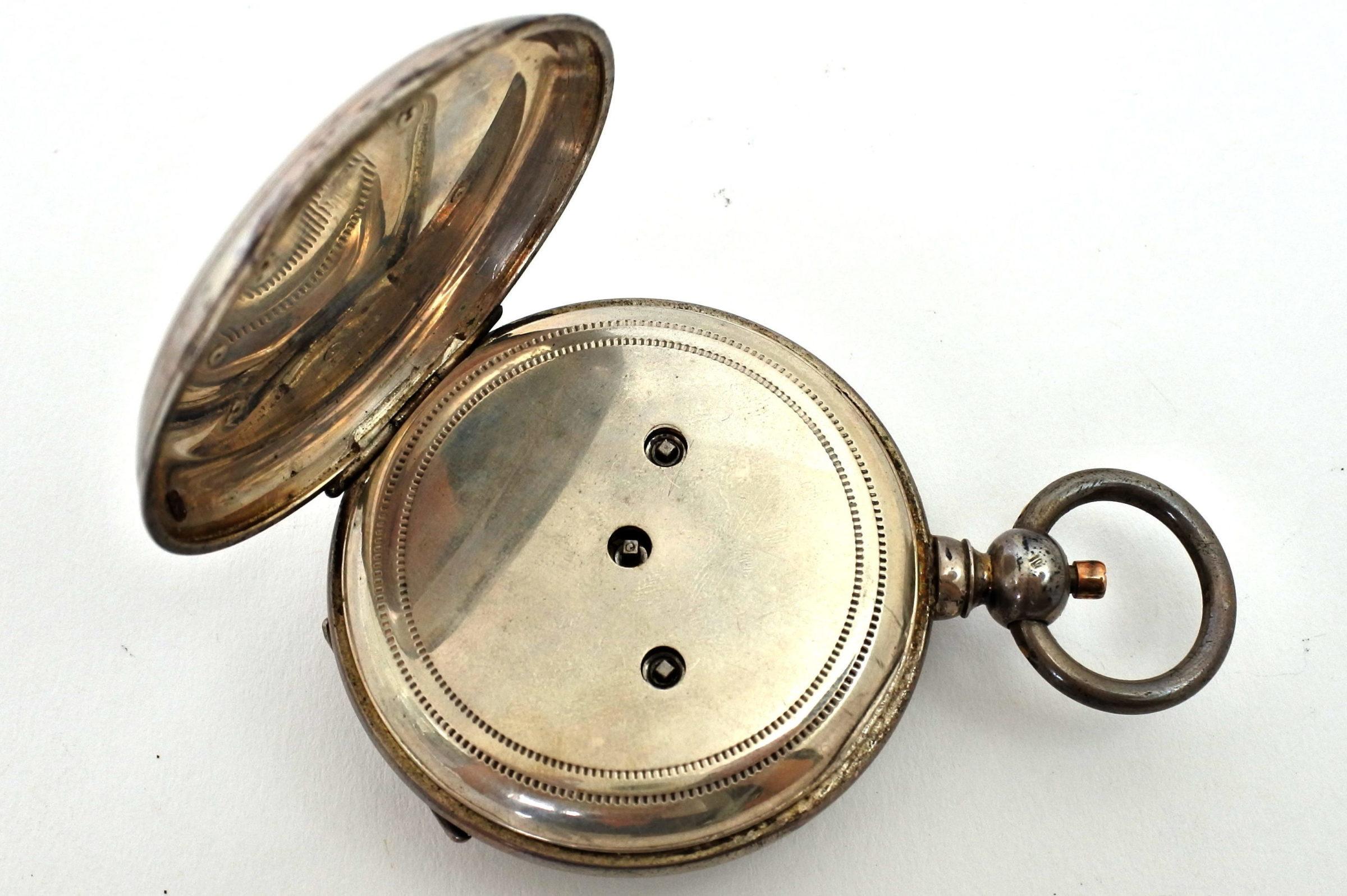 Orologio da tasca in argento con carica a chiavetta. Diametro cassa 55 mm - 2