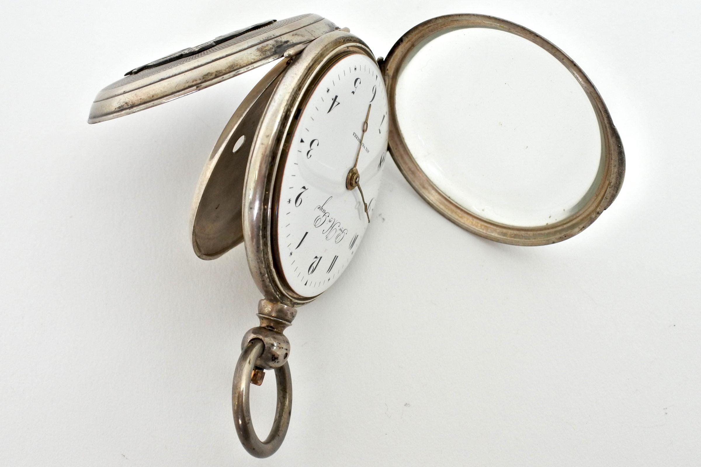 Orologio da tasca in argento con carica a chiavetta. Diametro cassa 55 mm - 4