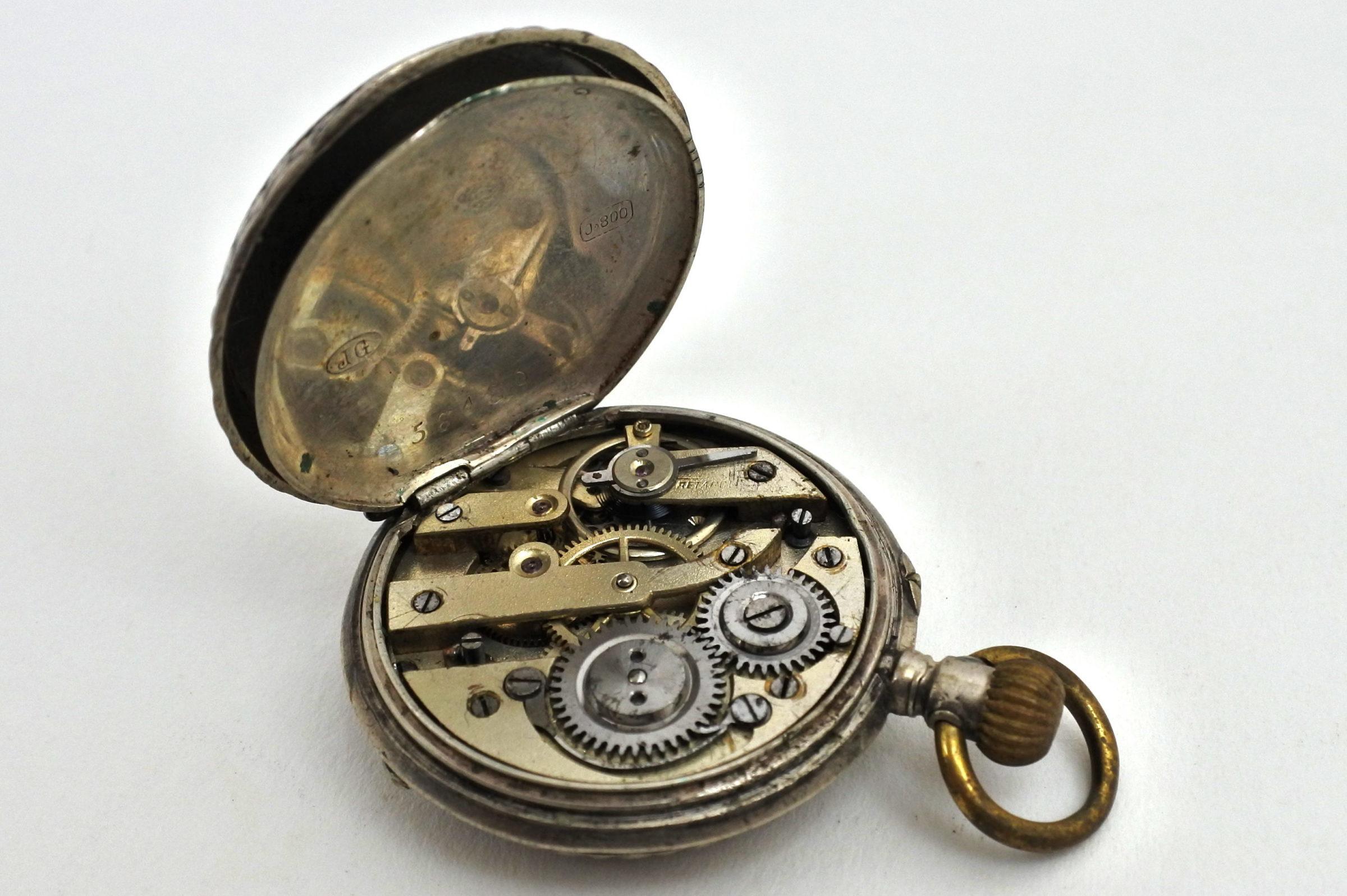 Orologio da tasca – monachina in argento punzonata - 3