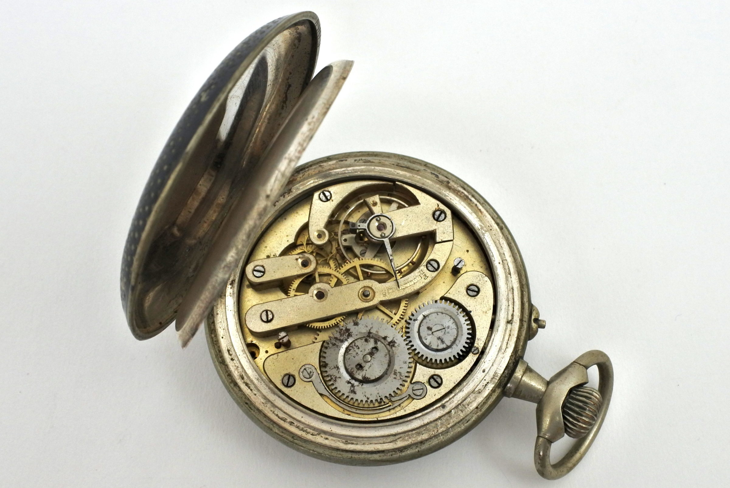 Orologio da tasca in argento e niello – Anti magnetique - 3