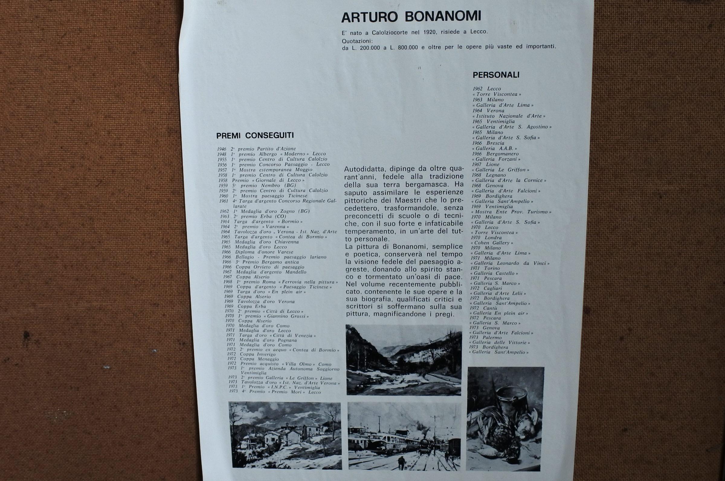 Quadro ad olio su tavola rappresentante treni a vapore in stazione - Arturo Bonanomi - 2