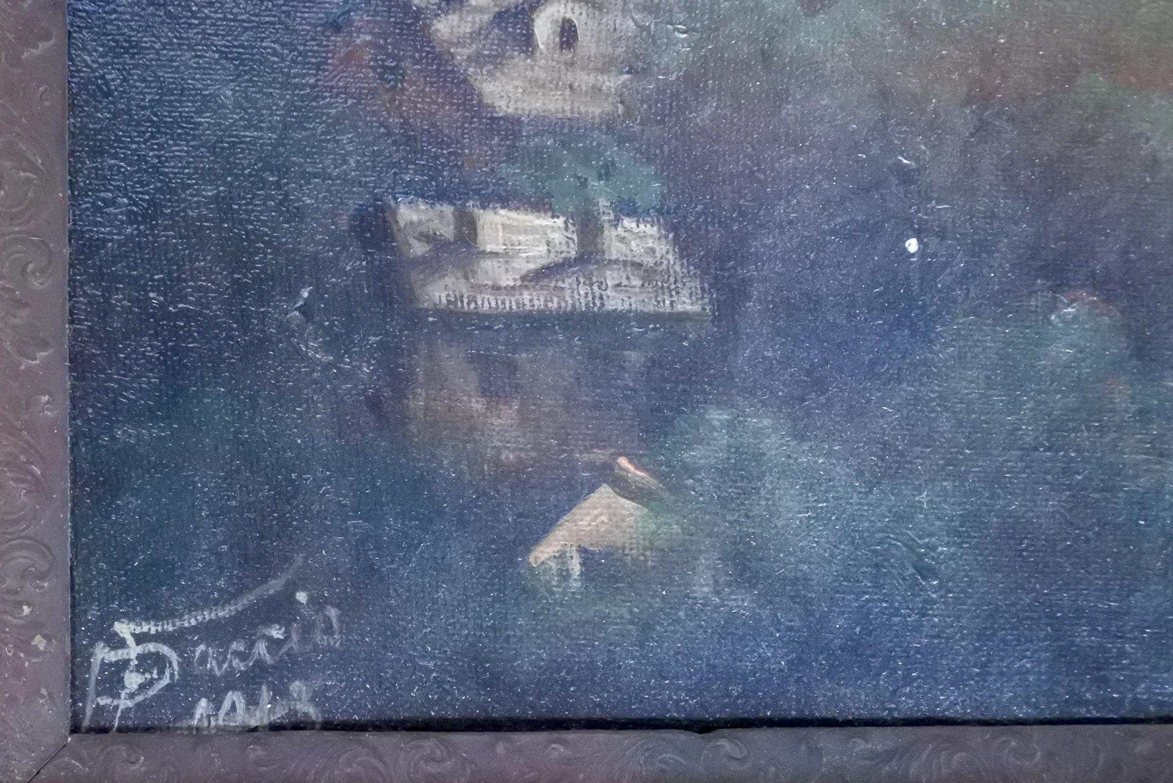 Quadro ad olio su masonite rappresentante paesaggio - Inizi XX° secolo - 2