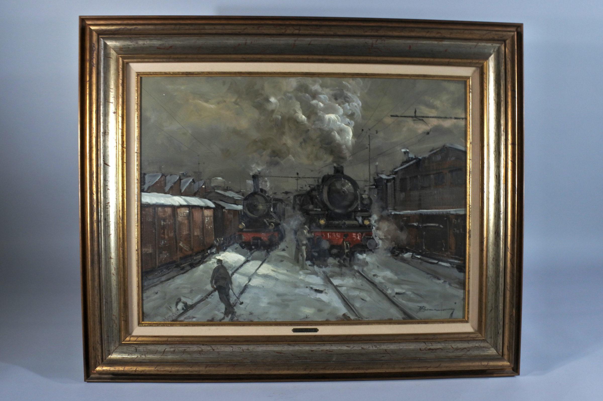 Quadro ad olio su tavola rappresentante treni a vapore in stazione - Arturo Bonanomi