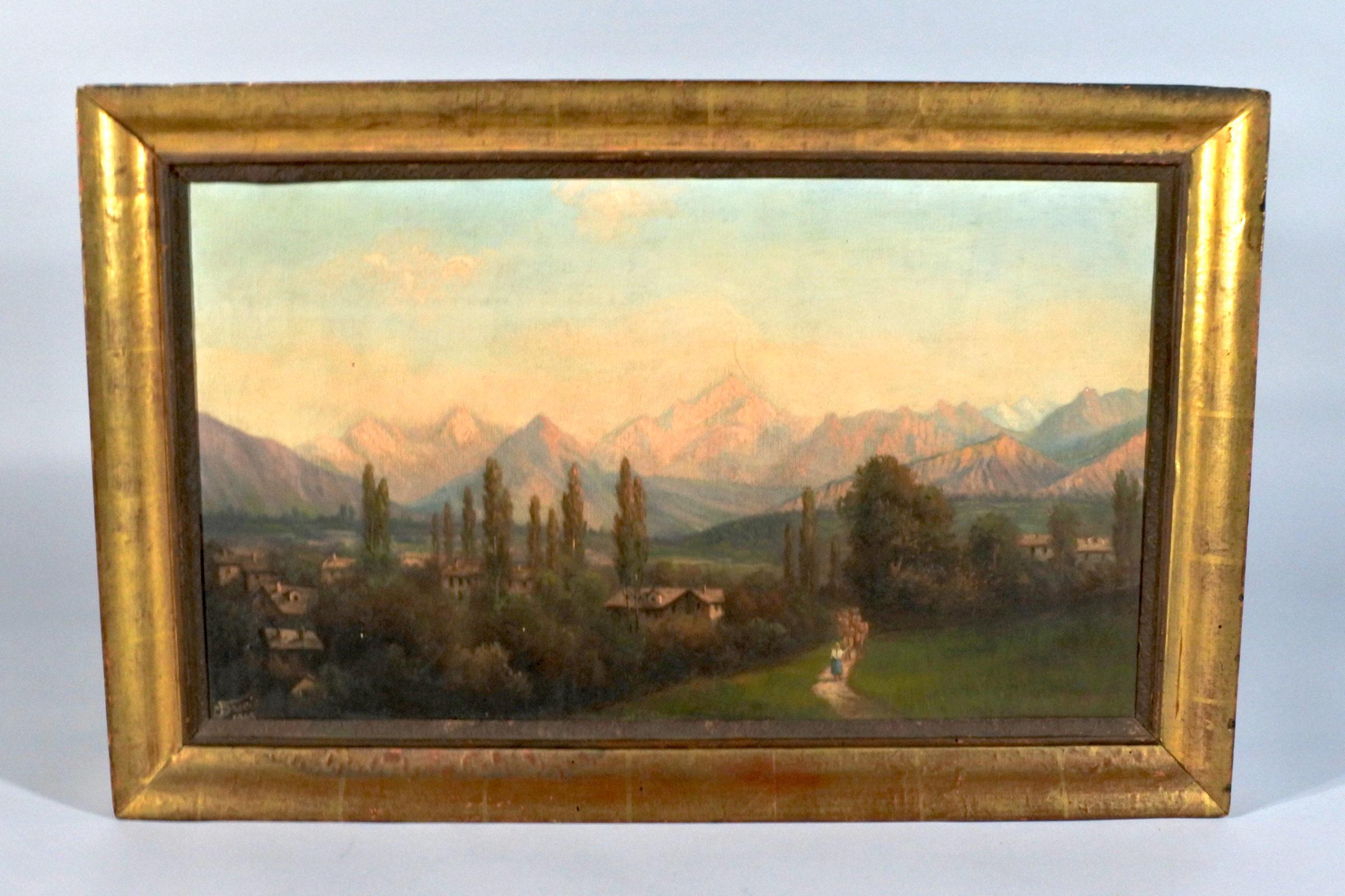 Quadro ad olio su masonite rappresentante paesaggio - Inizi XX° secolo