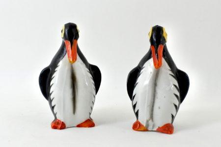 Coppia di salarini in ceramica a forma di pinguini