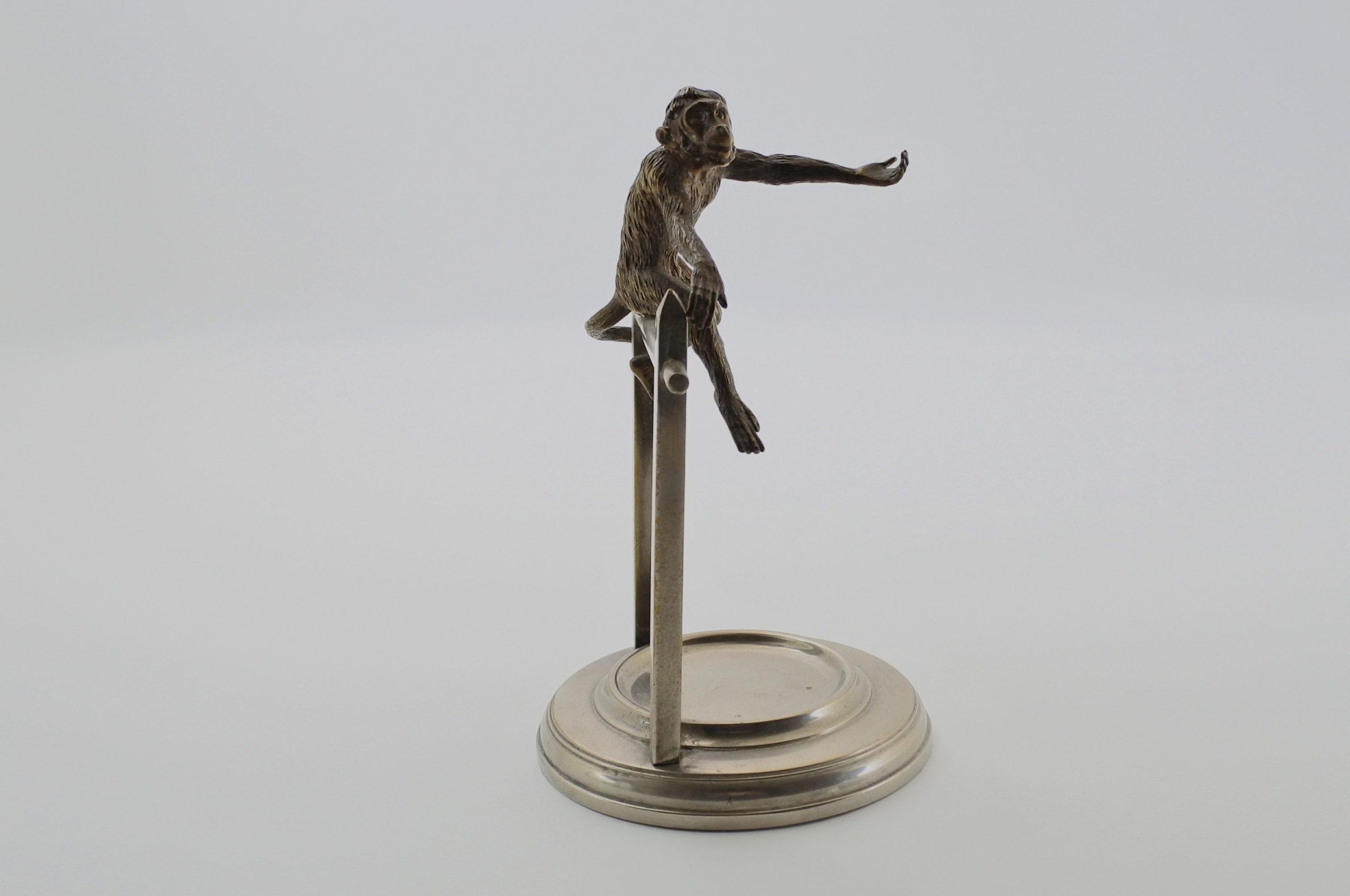 Portaorologi con scimmia in bronzo di Vienna su supporto in ottone cromato - 2