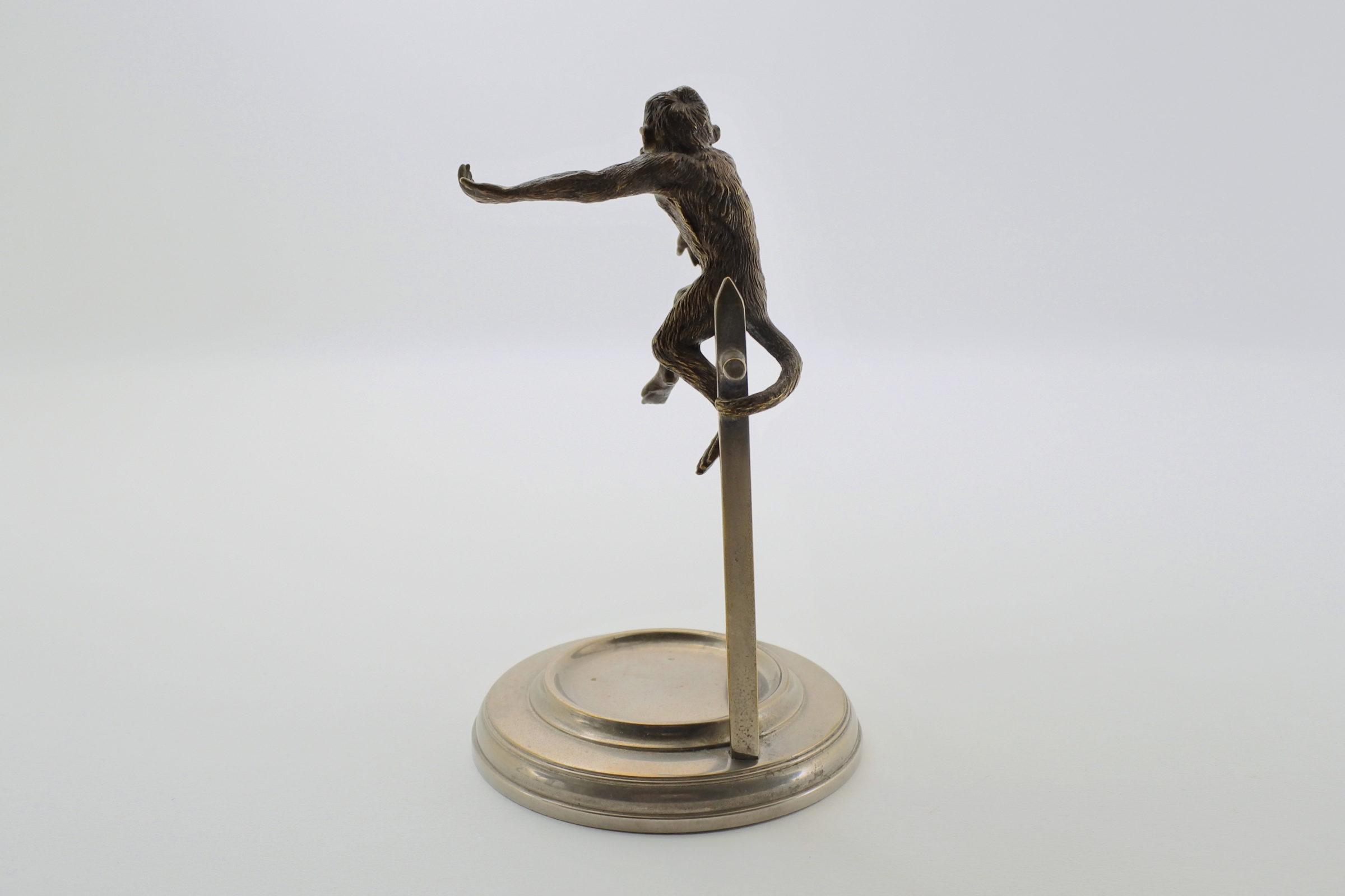 Portaorologi con scimmia in bronzo di Vienna su supporto in ottone cromato - 4