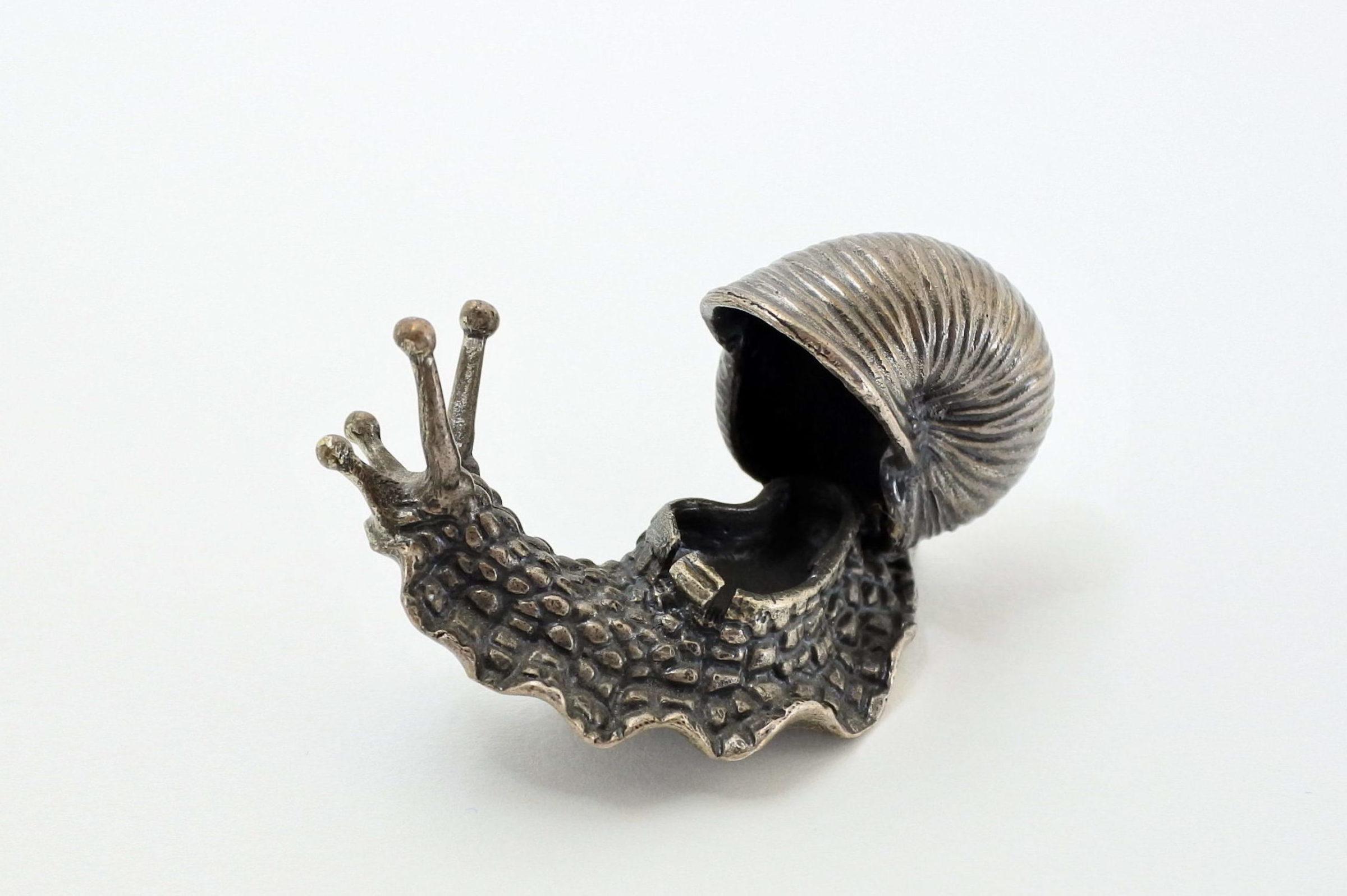 Scatolina in argento massiccio a forma di chiocciola - 3