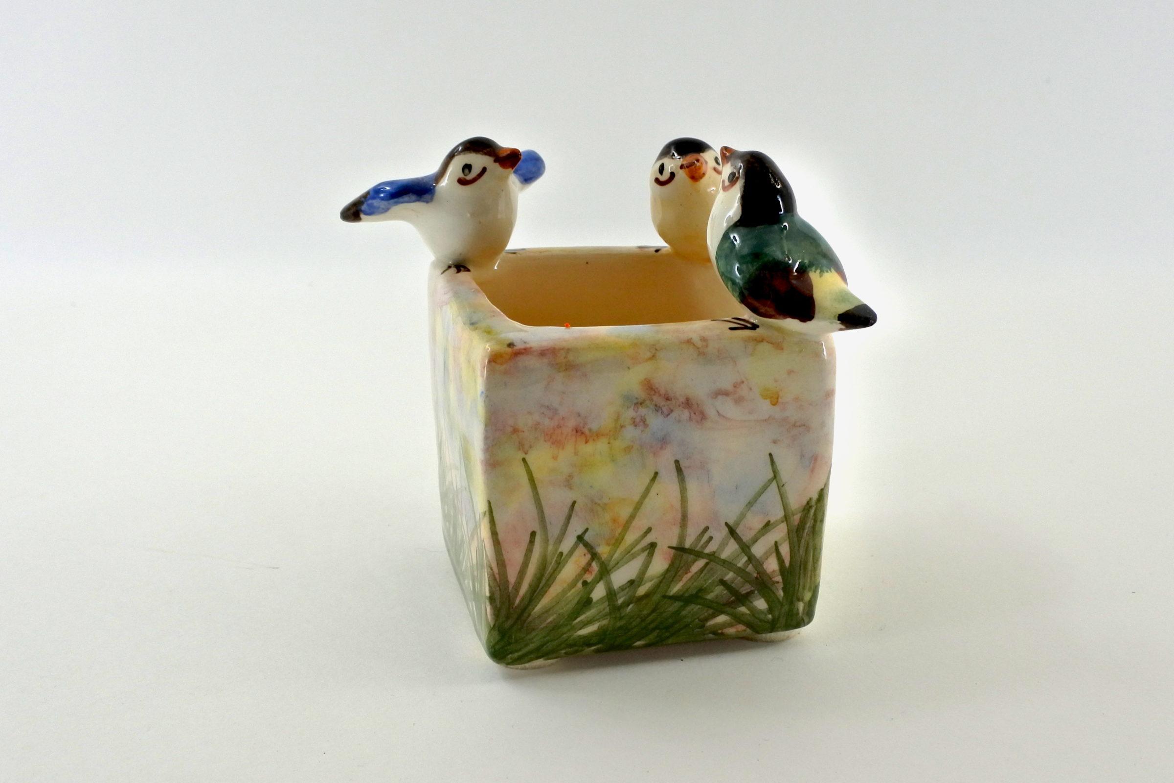 Piccola jardinière Massier in ceramica barbotine con uccellini - 2