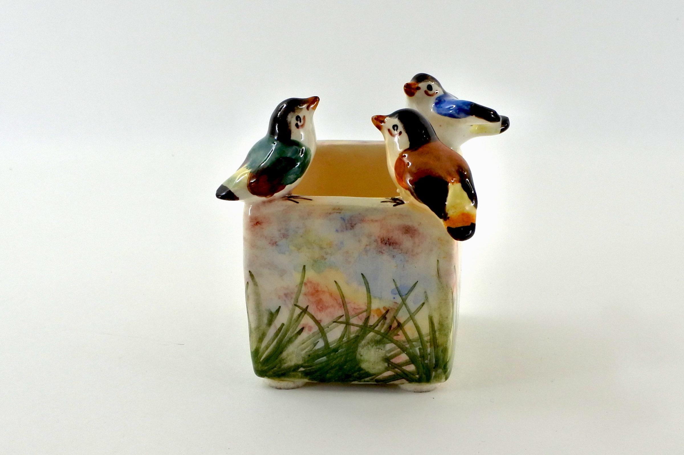 Piccola jardinière Massier in ceramica barbotine con uccellini - 3