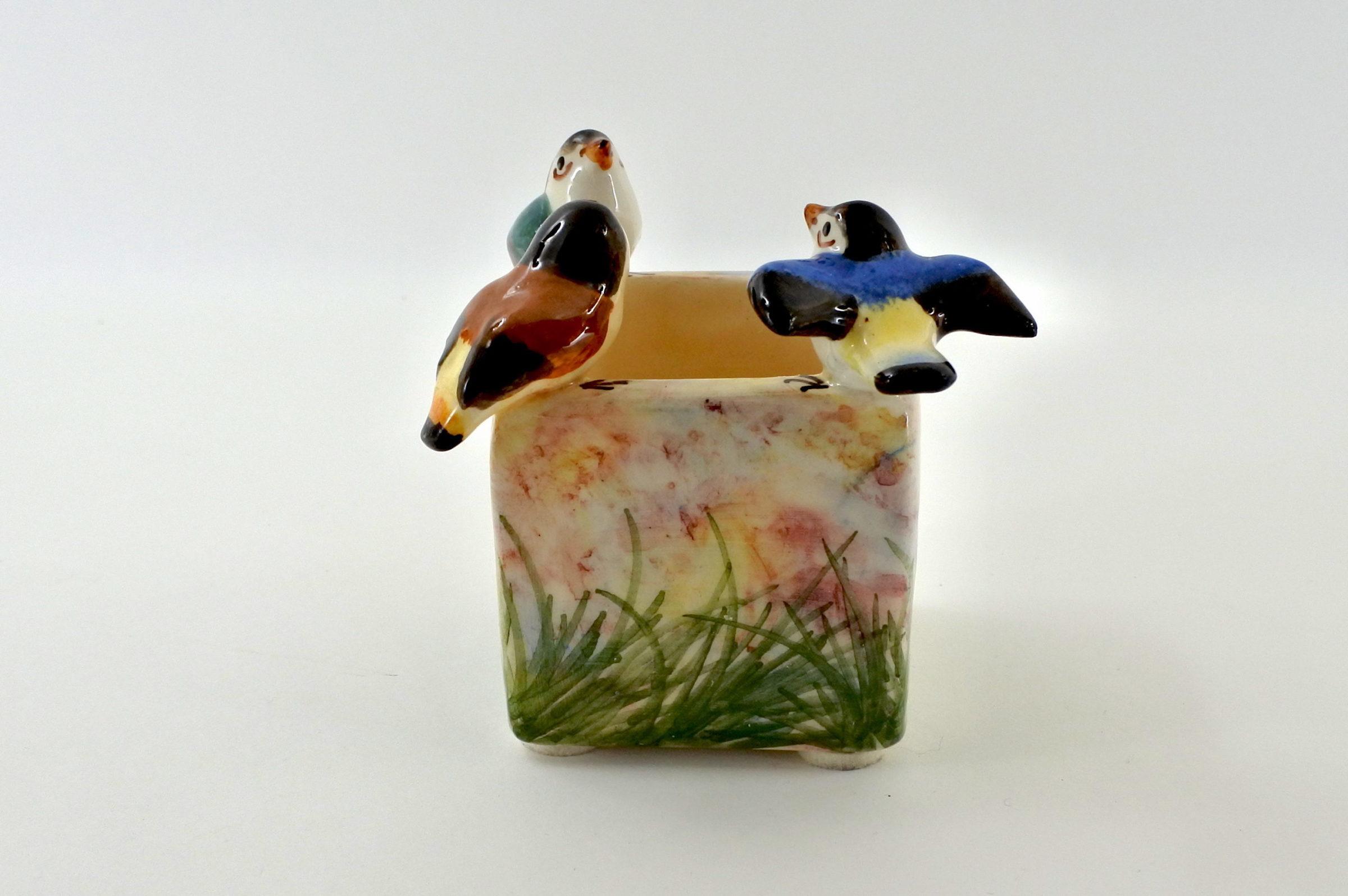 Piccola jardinière Massier in ceramica barbotine con uccellini - 4