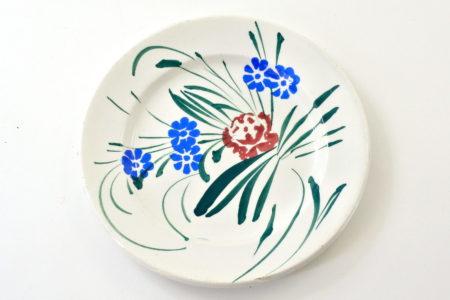 Piatto Mondovì con fiori blu e rossi - Musso Villanova