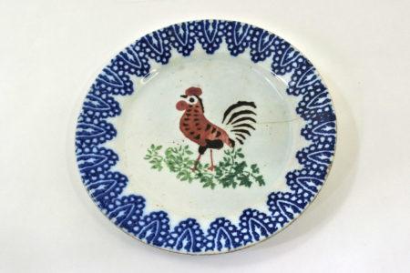 Piatto Mondovì con gallo rosso - cornice Benedetto Musso