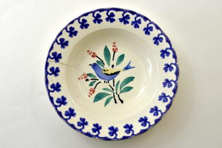 Piatto Mondovì con uccellino blu e giallo - Gribaudi Vicoforte