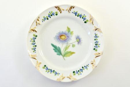Piatto in porcellana Vecchia Parigi - Vieux Paris con fiori blu e verdi