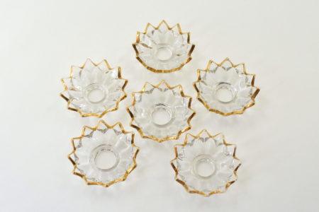 6 bobeches raccoglicera in vetro sfaccettato e bordato in oro