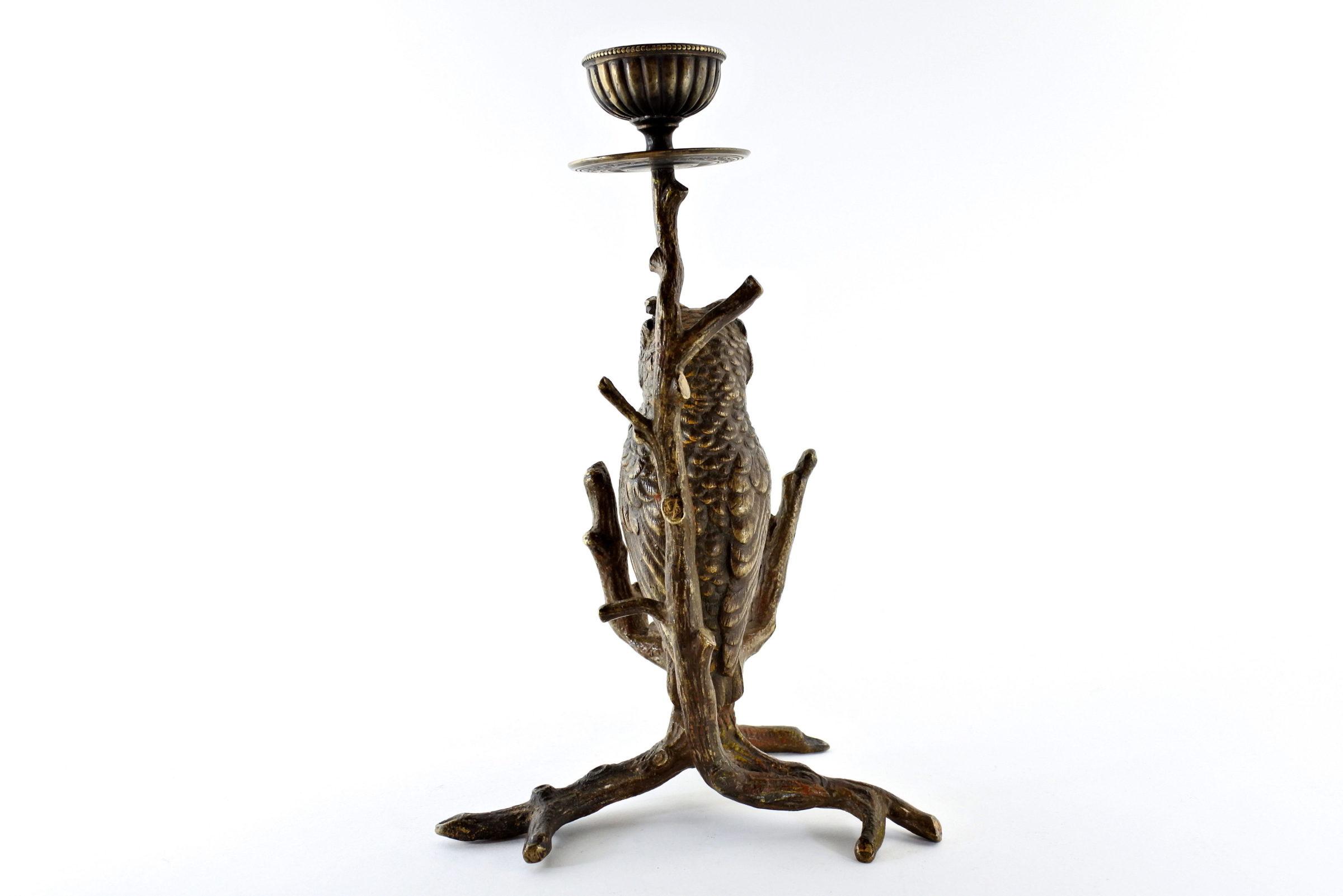 Civetta in bronzo di Vienna con funzione di candeliere - 3