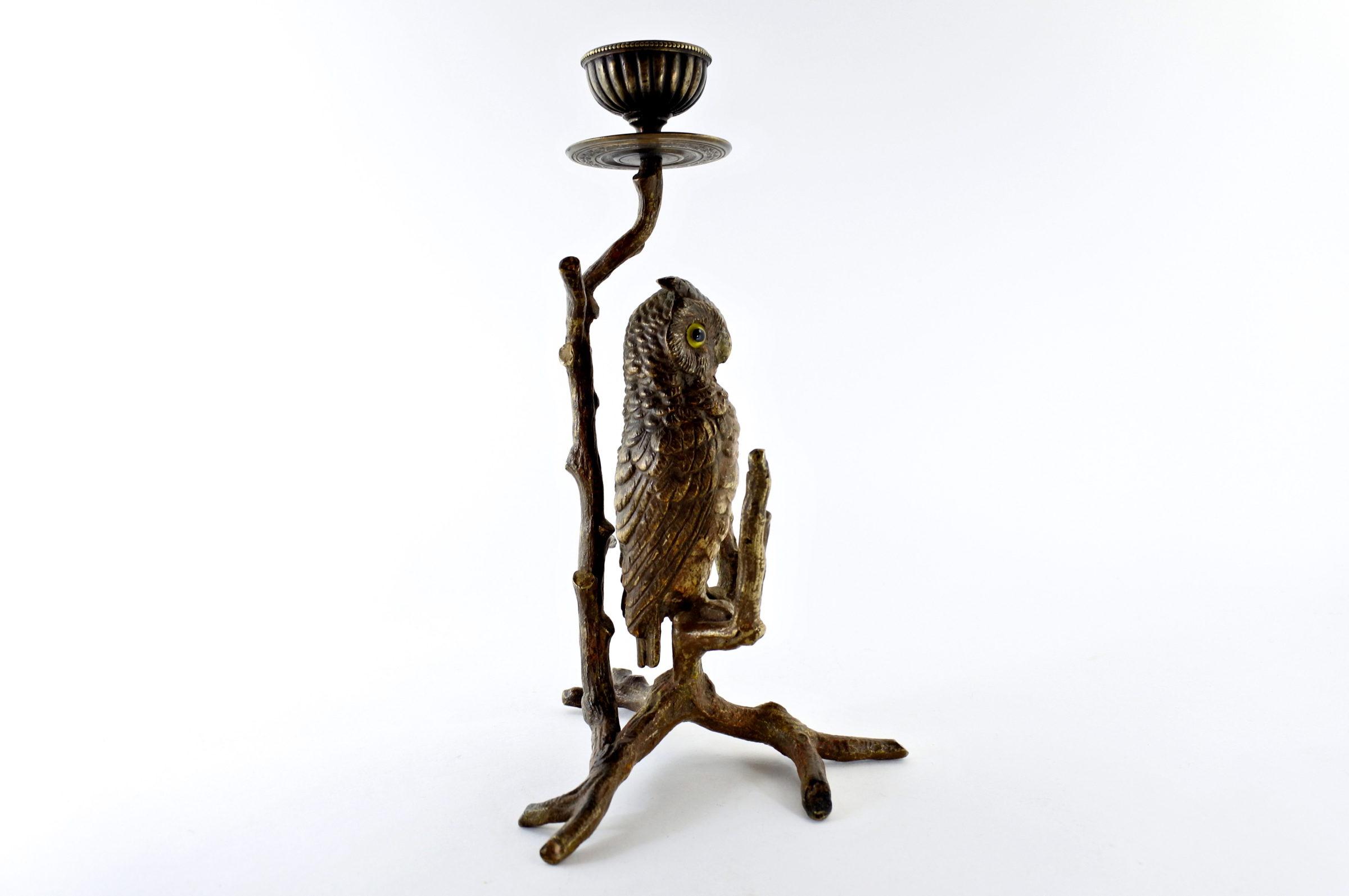 Civetta in bronzo di Vienna con funzione di candeliere - 4
