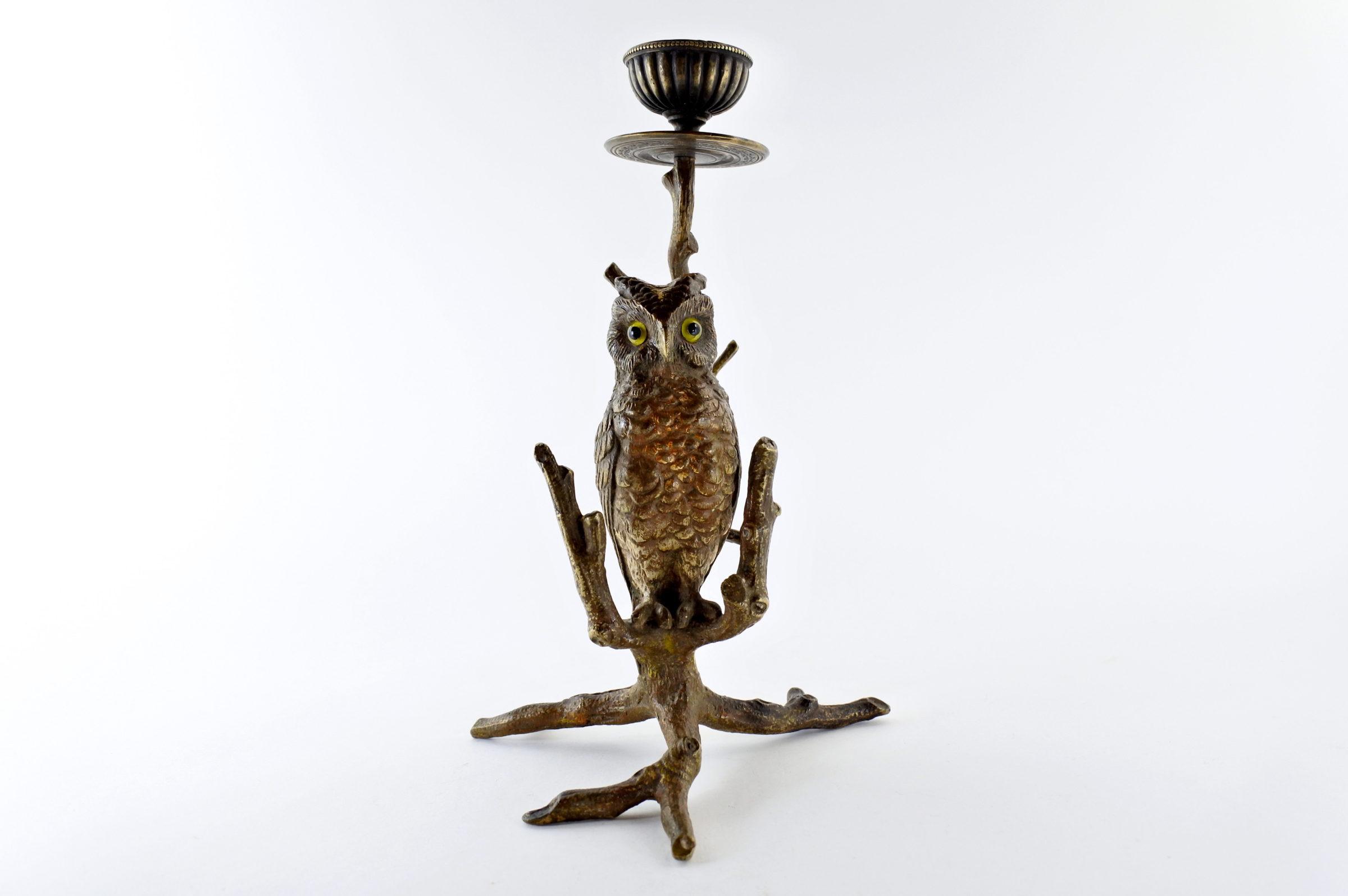 Civetta in bronzo di Vienna con funzione di candeliere