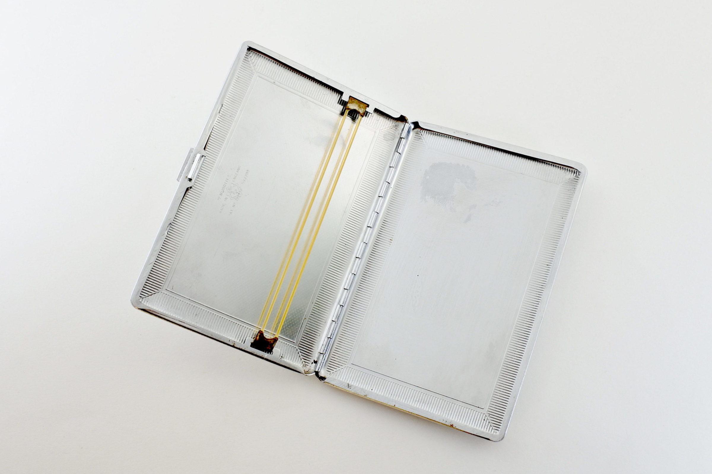 Portasigarette massonico in metallo argentato e madreperla - 3