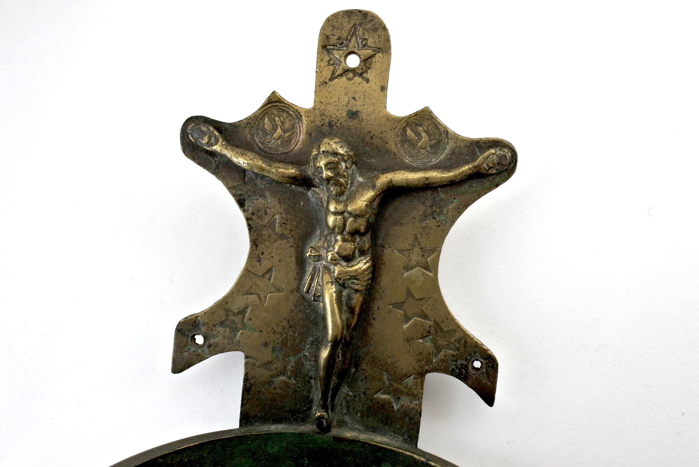 Acquasantiera in bronzo del XVIII° secolo - 2