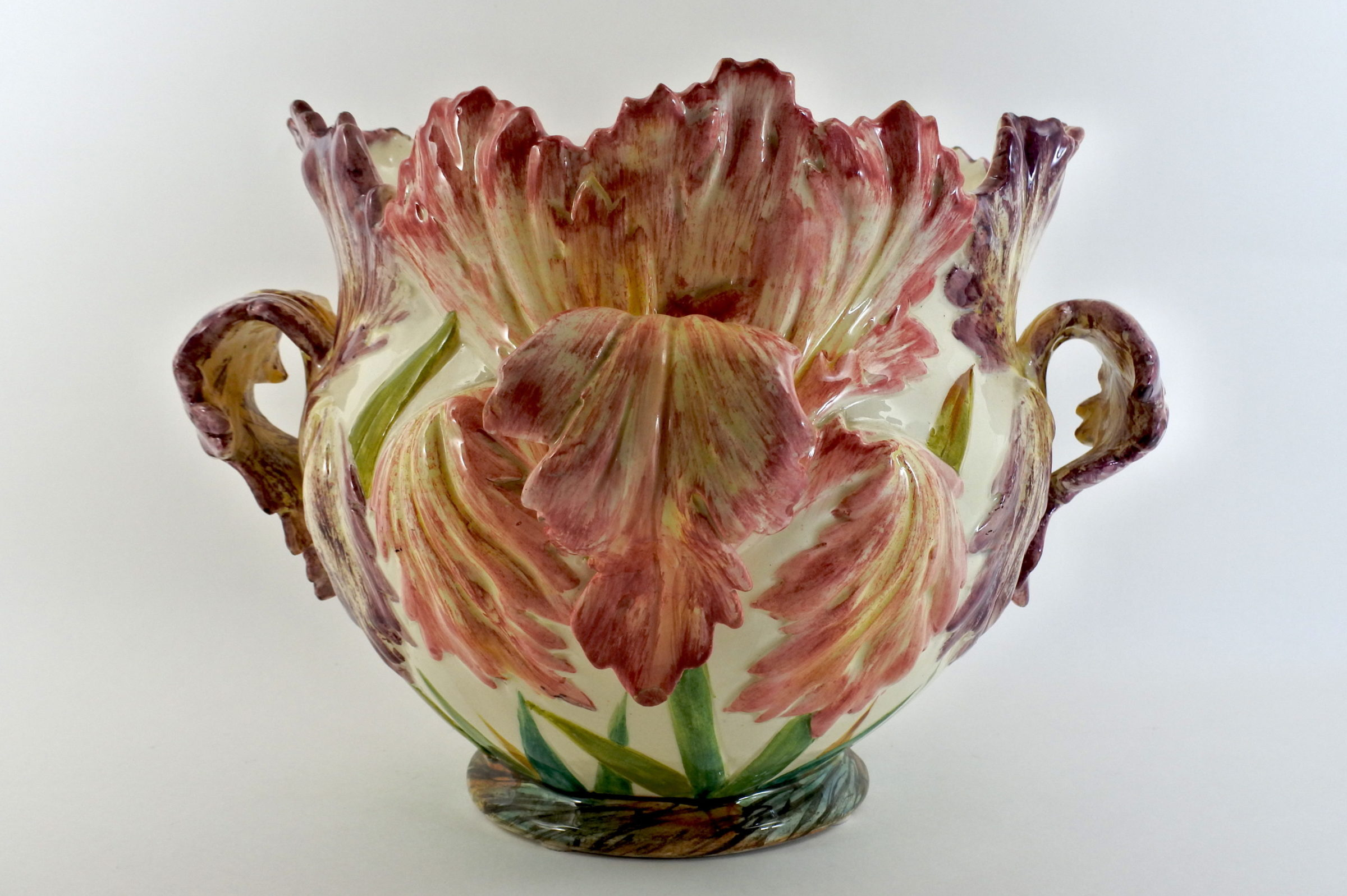 Cache pot Massier in ceramica barbotine con tulipani pappagallo – Tulipes perroquet - 2