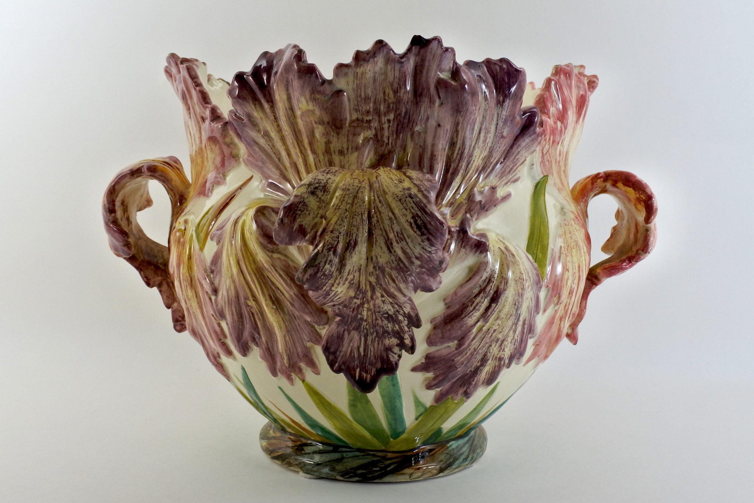 Cache pot Massier in ceramica barbotine con tulipani pappagallo – Tulipes perroquet