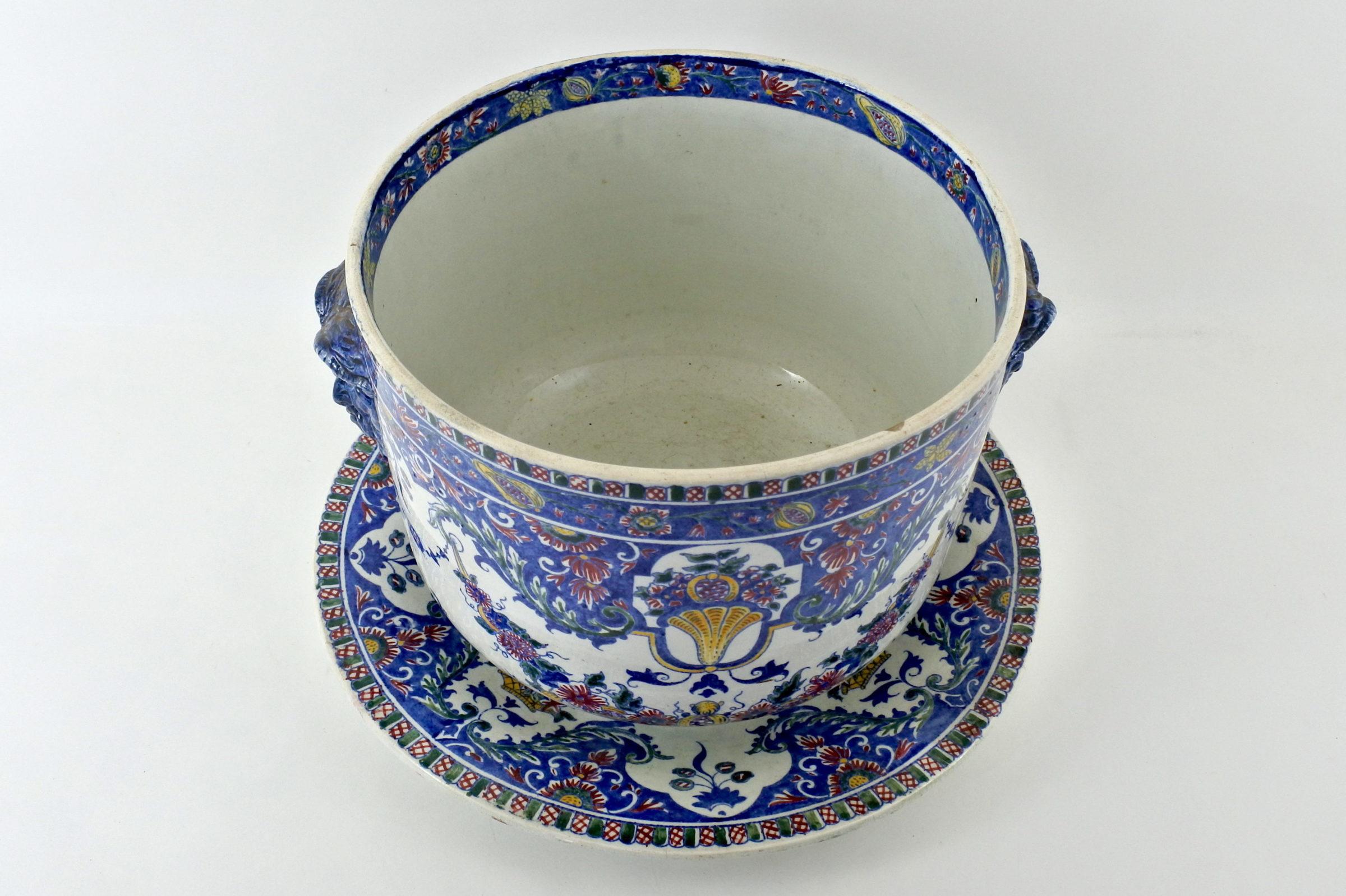 Cache pot in ceramica di Gien con sottovaso - 2