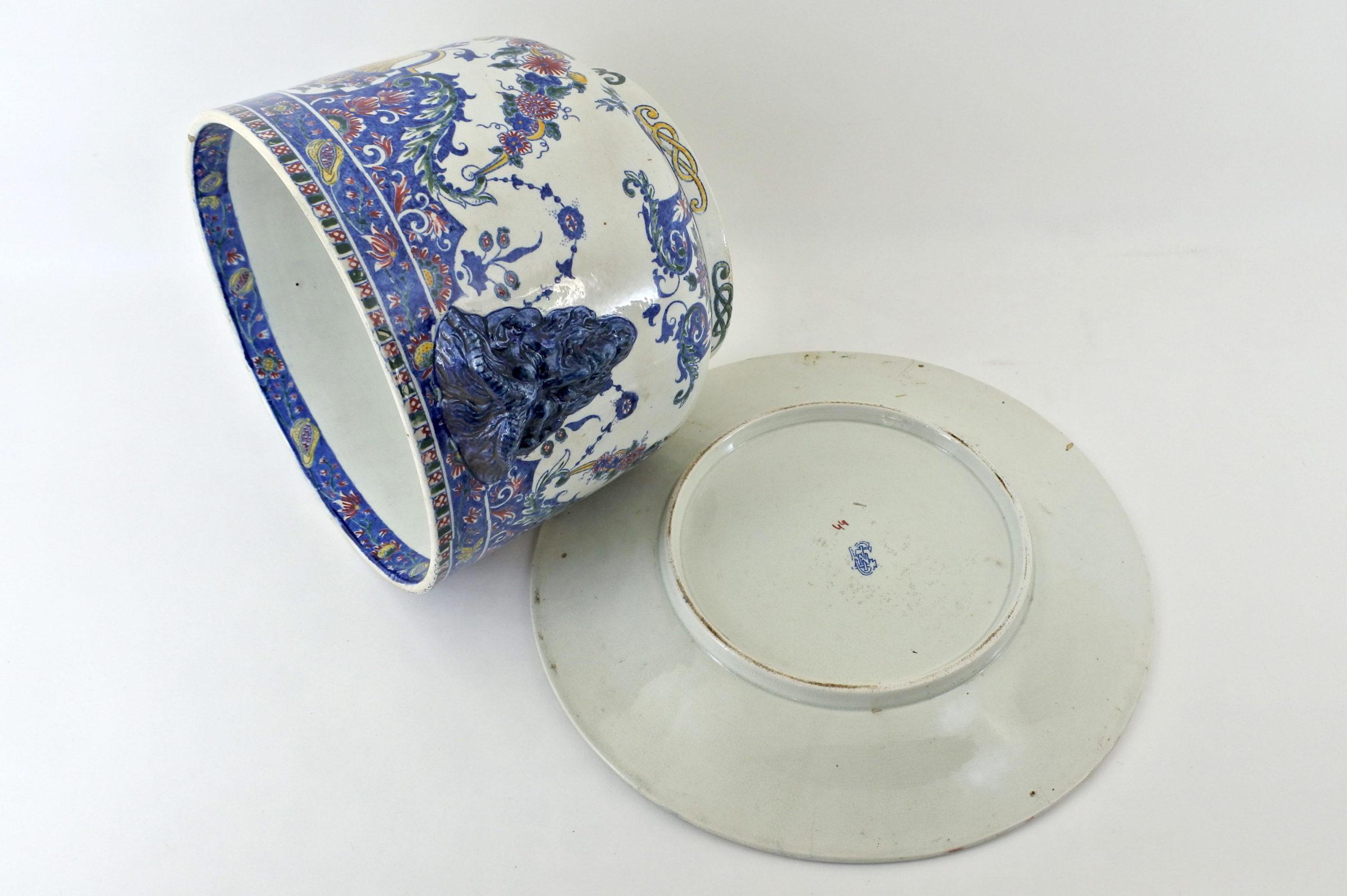 Cache pot in ceramica di Gien con sottovaso - 3