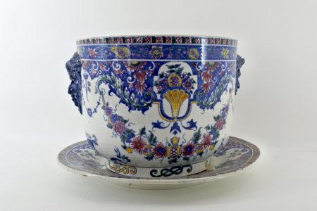 Cache pot in ceramica di Gien con sottovaso